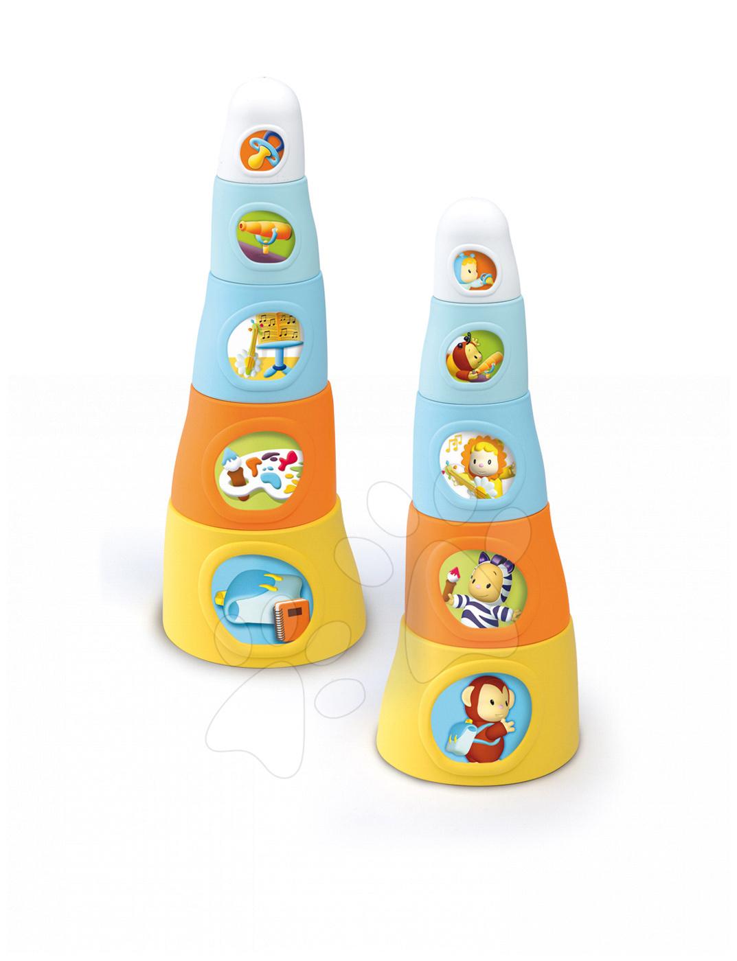 Motorikafejlesztő játékok - Csészerakosgató Cotoons Happy Tower Smoby 5 darab narancssárga-kék 12 hó-tól