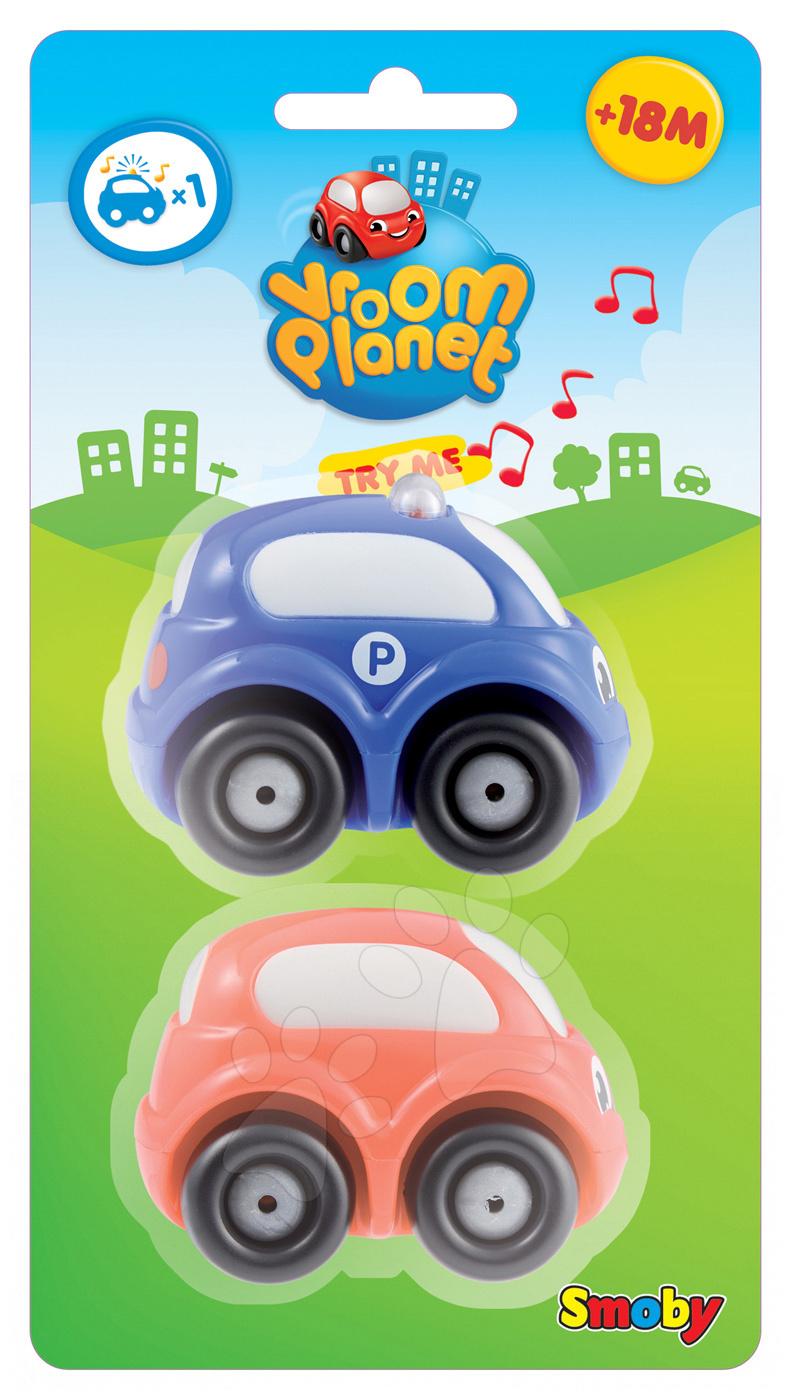 Sada 3 autíček Smoby 2 v baterie délka 7 cm a 1 obyčejné autíčko Vroom Planet od 12 měsíců