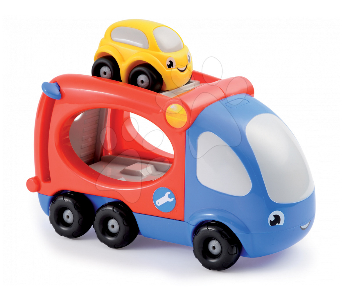 Nákladné autá - Kamión - transportér Smoby dĺžka 21 cm s farebným autíčkom od 12 mes