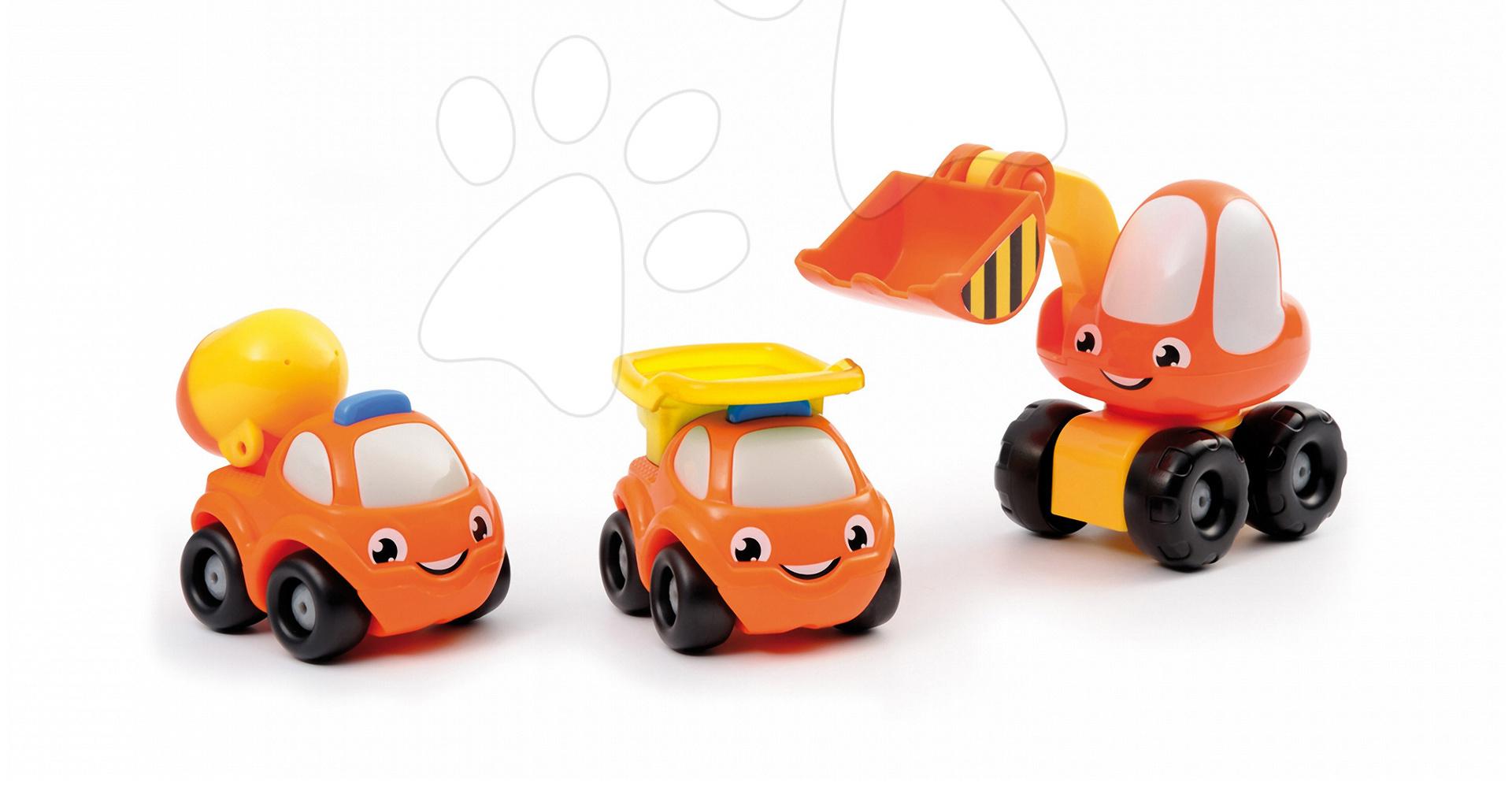 Sada 3 stavebních autíček Vroom Planet Smoby buldozer, sklápěč, míchačka délka 8 cm v obalu od 12 měsíců