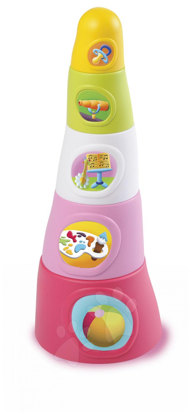 Vývoj motoriky - Skladacie šálky Happy Tower Cotoons Smoby 5 kusov ružové od 12 mes