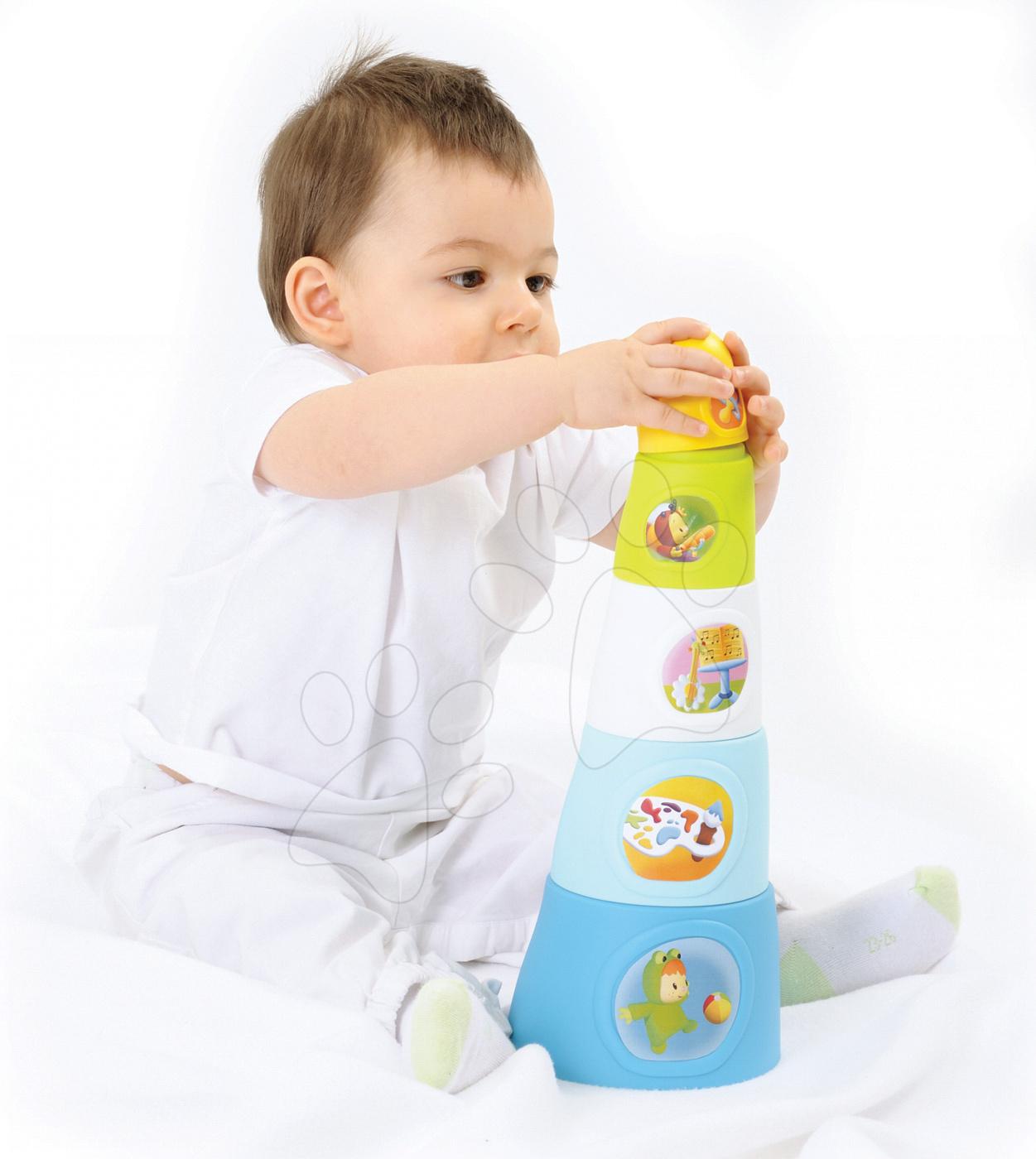 Vývoj motoriky - Skladacie šálky Happy Tower Cotoons Smoby 5 kusov modré od 12 mes