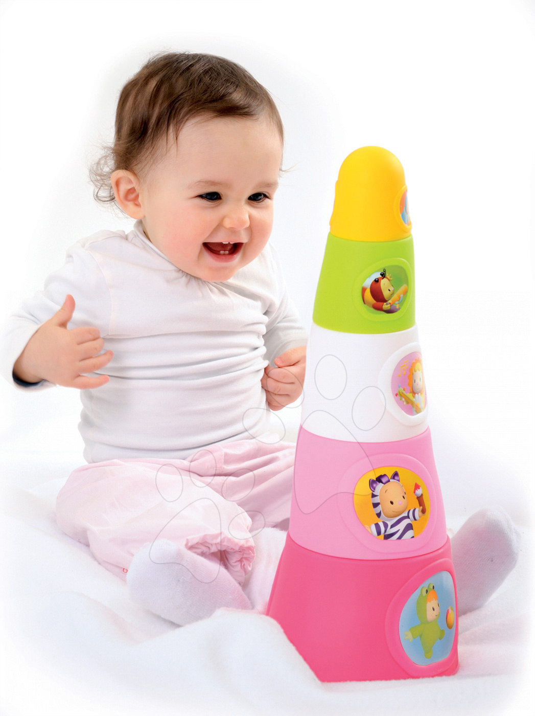 Vývoj motoriky - Šálky na skladanie Happy Tower Cotoons Smoby 5 kusov ružové od 12 mes
