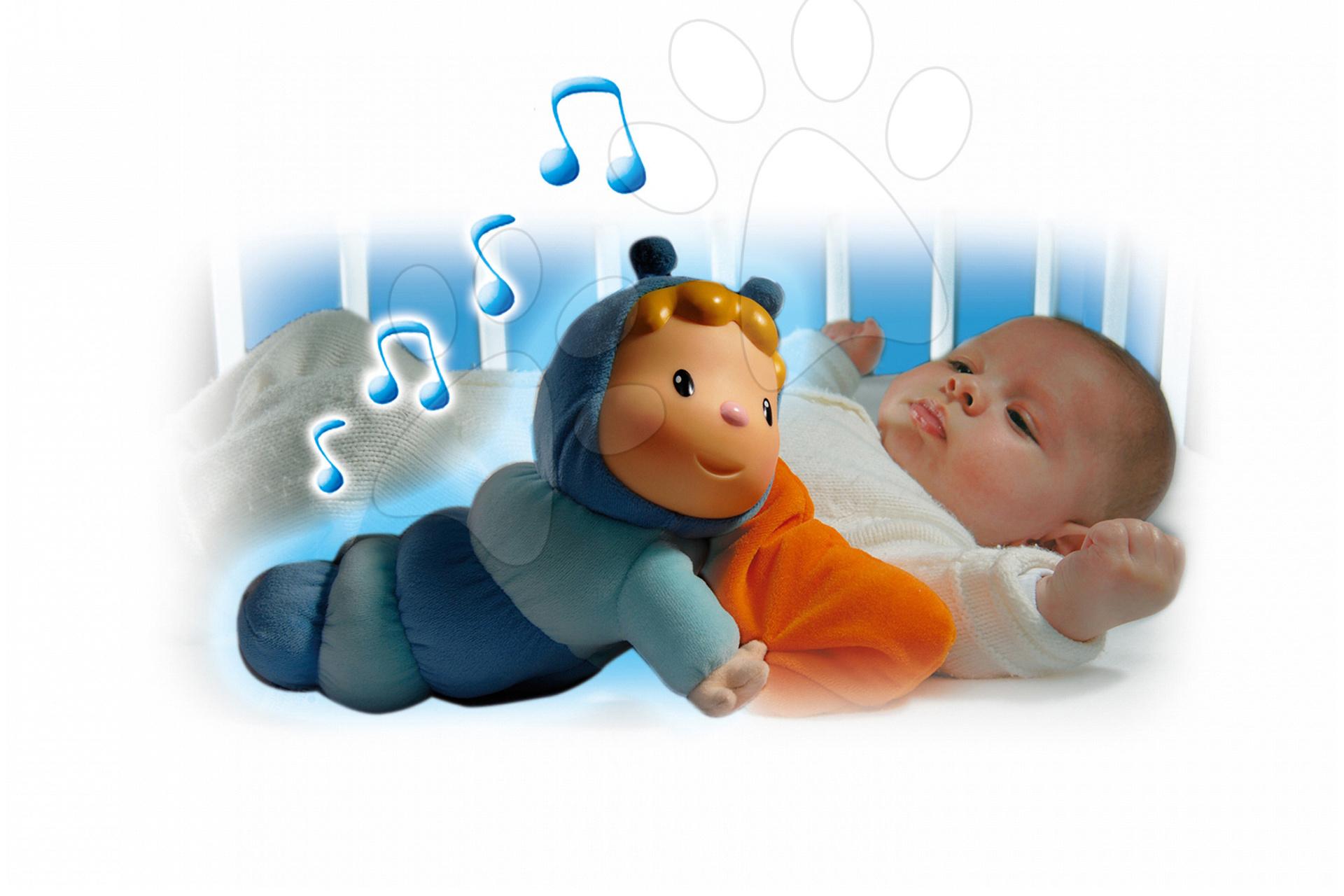 Hračky pre bábätká - Svietiaca bábika Chowing Cotoons Smoby s vankúšikom pre kojencov modrá
