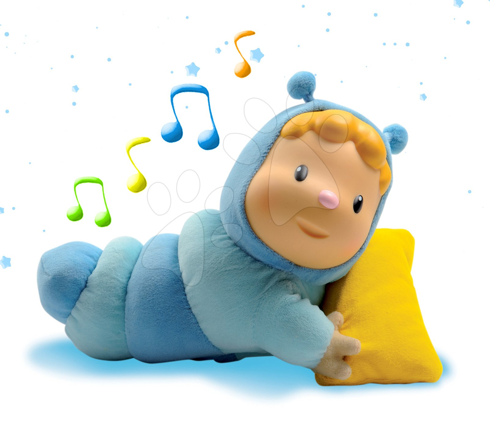 Păpuşă cu pernă Cotoons Chowing pentru bebeluşi Smoby luminoasă albastră