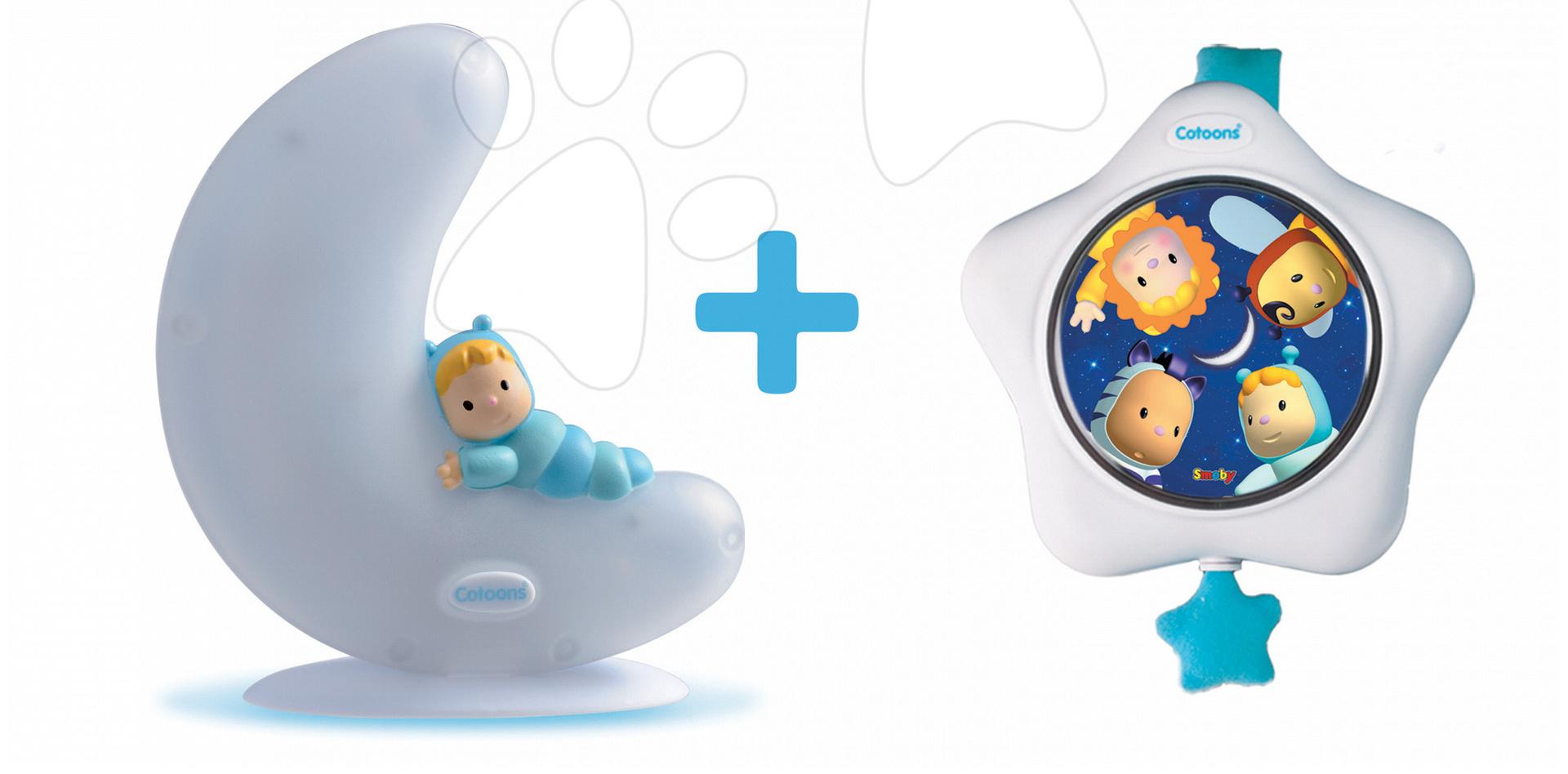 Svítící měsíček a hvězdička Cotoons Smoby se zvukem pro kojence modrý