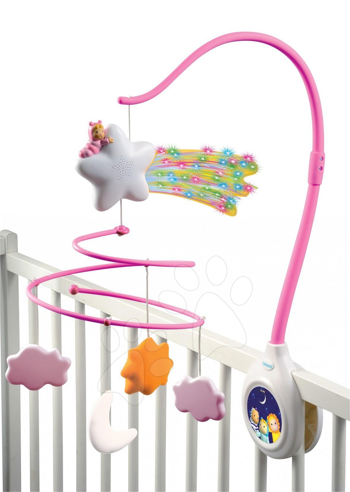 Kolotoč nad postýlku Cotoons Smoby pro kojence růžový