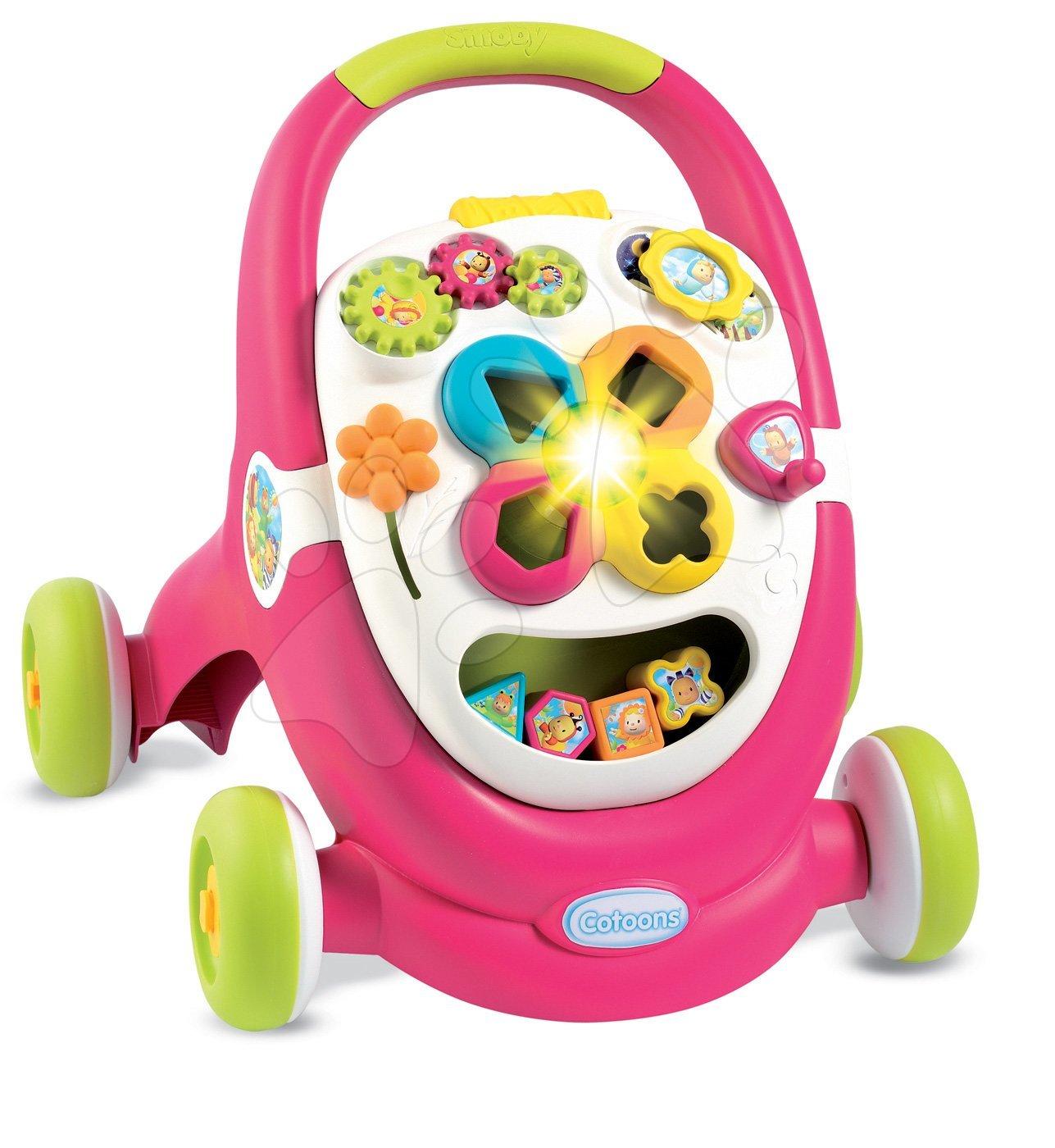 Detské chodítka - Chodítko Cotoons Smoby s kockami, svetlom a melódiou ružové od 12 mes