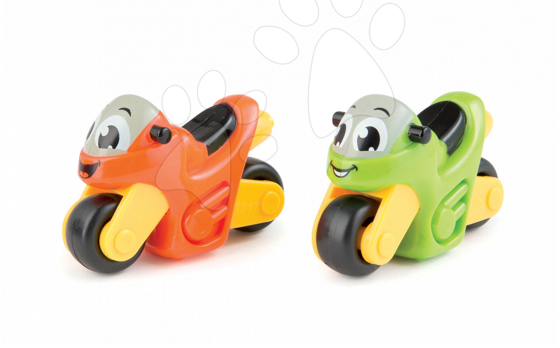Autíčka - Sada 2 motoriek Vroom Planet Smoby dĺžka 8 cm zelená a oranžová od 12 mes