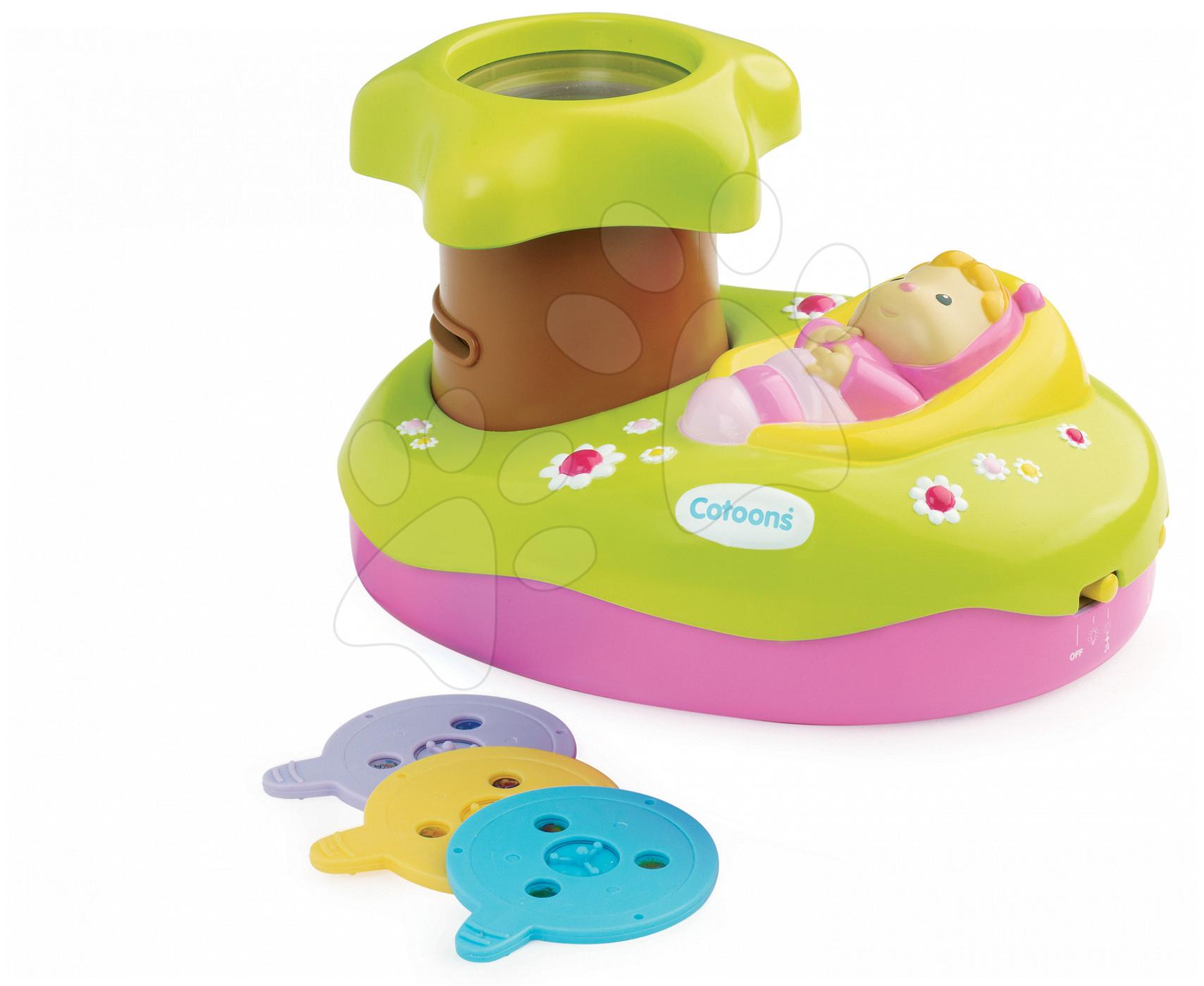 Hračky pre bábätká - Svetelný projektor k postieľke Cotoons Smoby pre kojencov ružovo-zelený