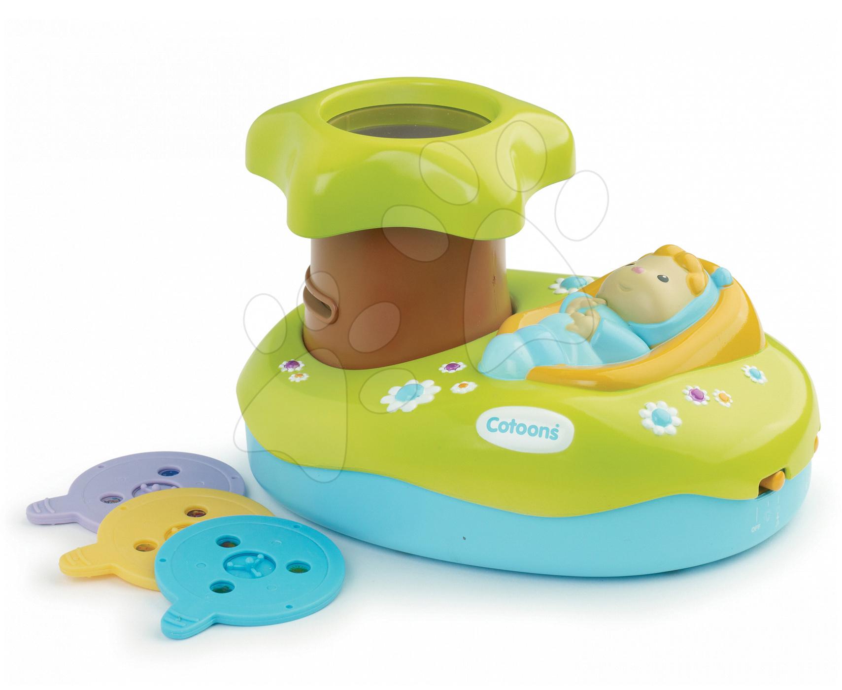 Hračky nad postieľku - Svetelný projektor k postieľke Cotoons Smoby pre kojencov modro-zelený