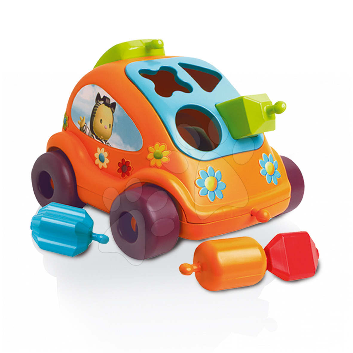 Maşinuţă cu forme de sortat Cotoons Smoby beetle cu cuburi portocaliu de la 12 luni