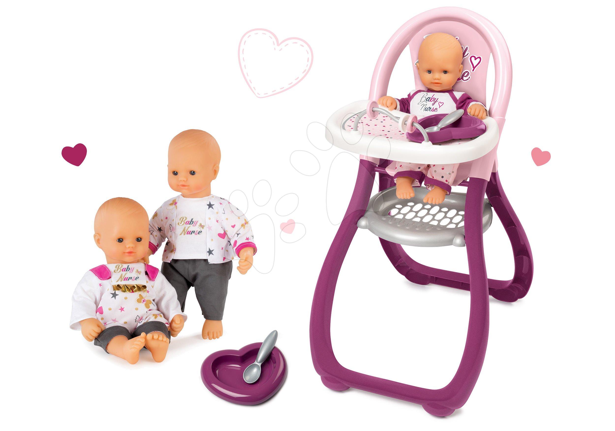Set panenka Baby Nurse Zlatá edice Smoby 32 cm a jídelní židle pro panenku od 24 měsíců