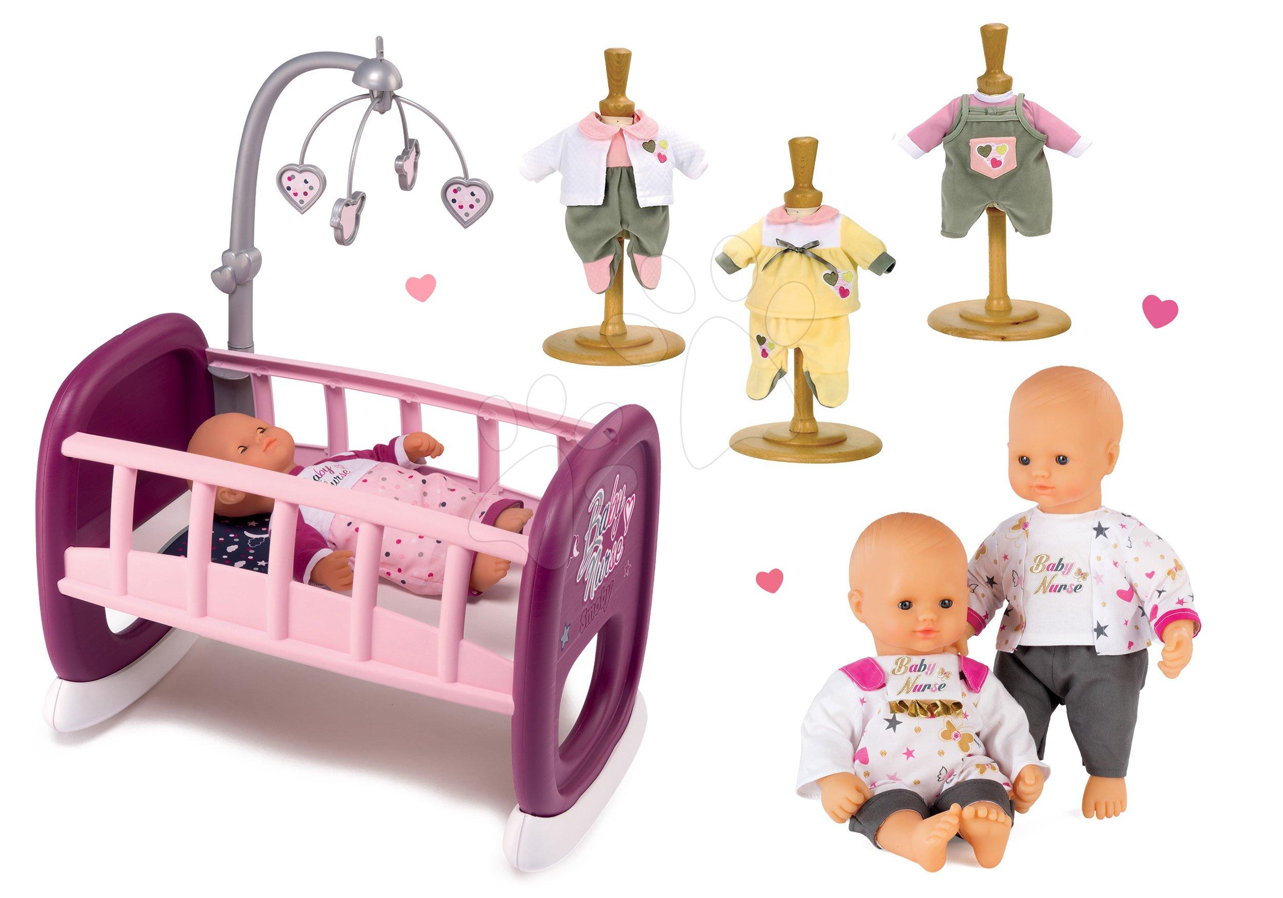 Set panenka Baby Nurse Zlatá edice Smoby 32 cm, kolébka s kolotočem a 3 šaty od 24 měs