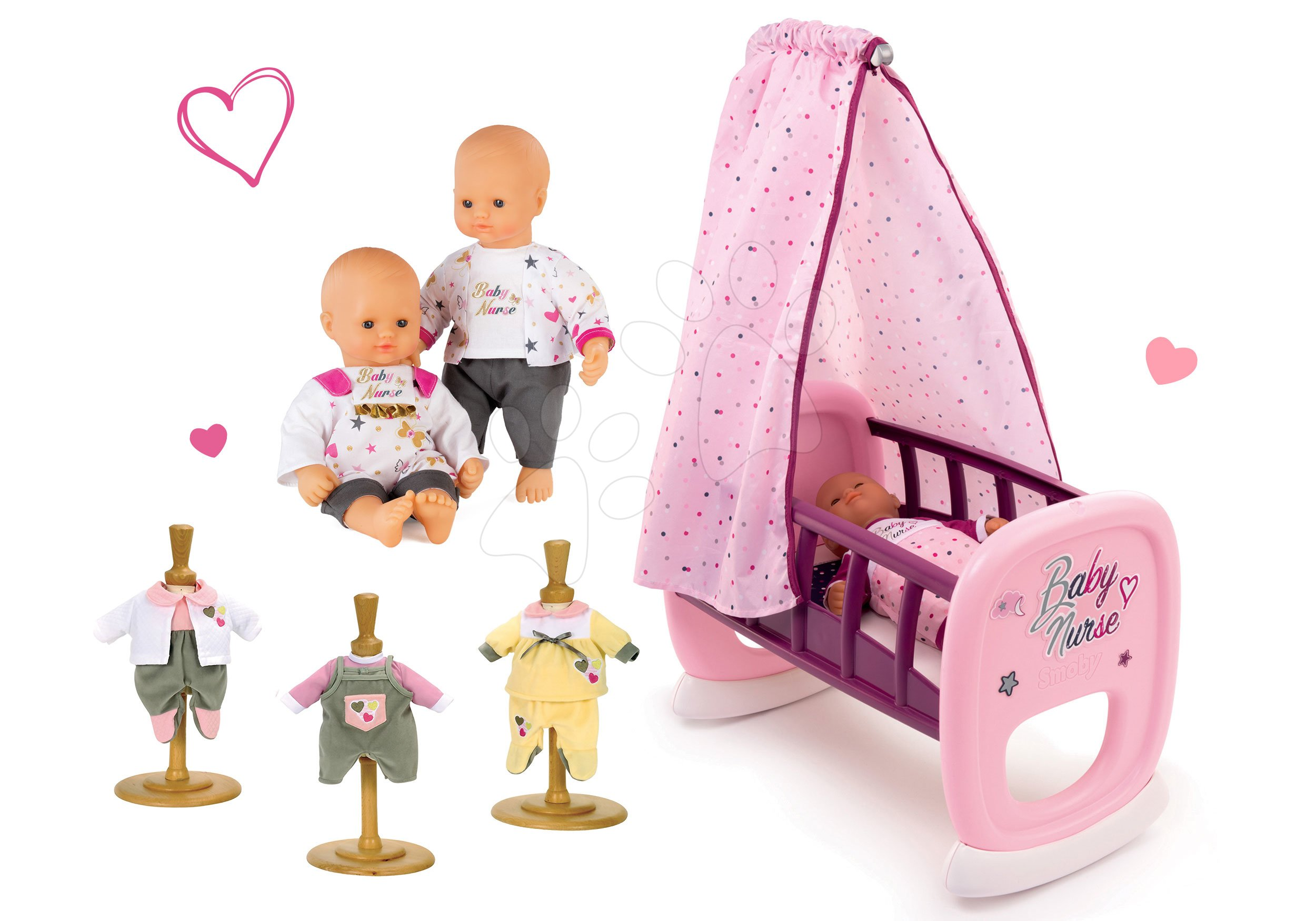 Smoby set bábika Baby Nurse Zlatá edícia, kolíska s baldachýnom a 3 šaty 220100-13
