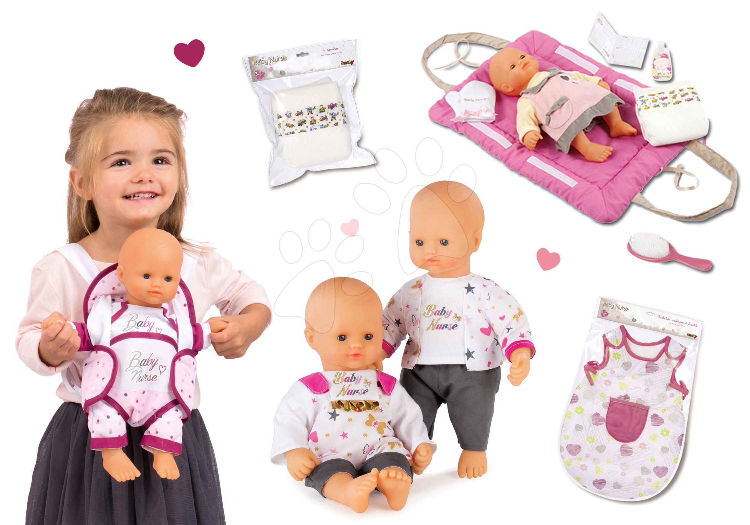 Set panenka Baby Nurse Zlatá edice Smoby 32 cm, noční úbor, přebalovací podložka, klokanka a sada plenek