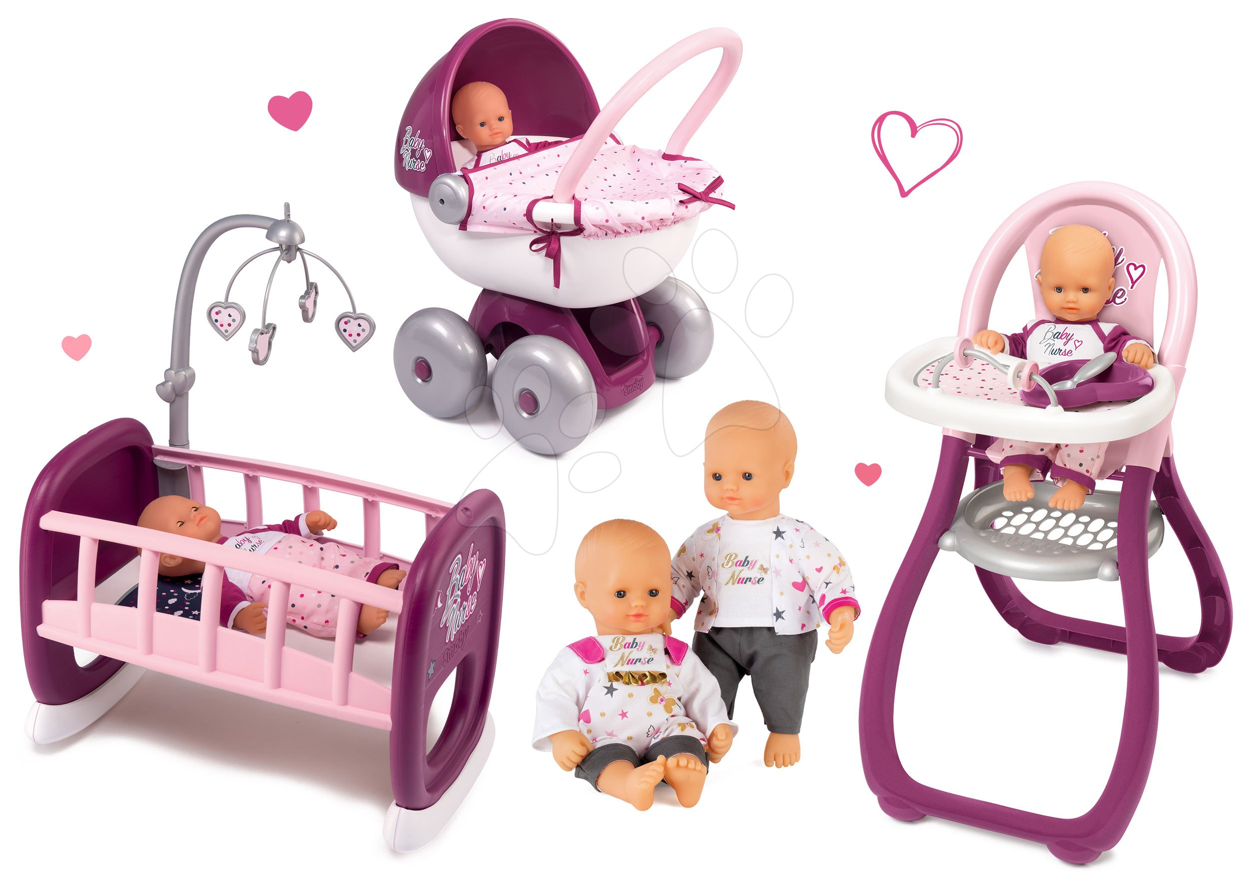 Smoby set bábika Baby Nurse Zlatá edícia, jedálenská stolička, kočík a kolíska Baby Nurse 220100-18
