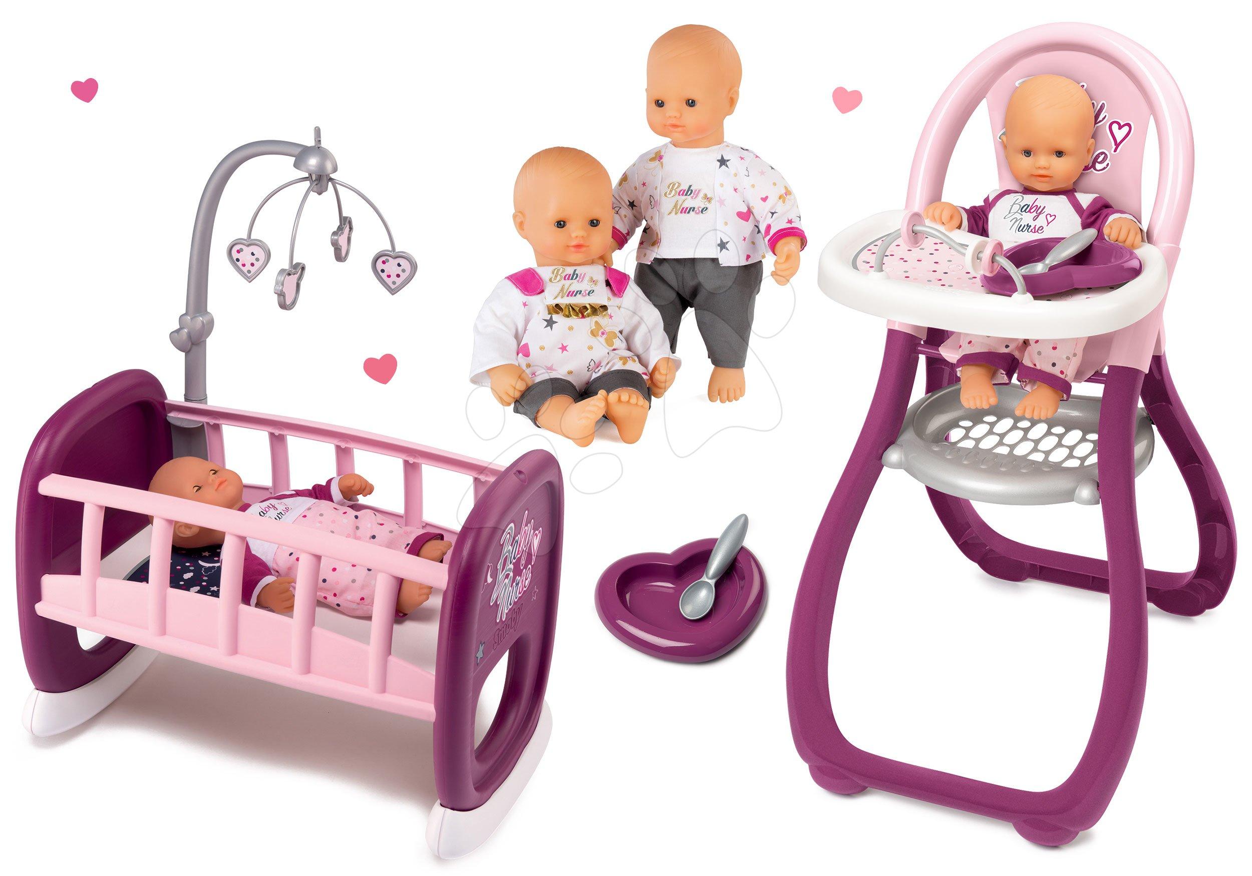 Set panenka Baby Nurse Zlatá edice Smoby 32 cm, jídelní židle a kolébka pro panenku s kolotočem od 24 měsíců