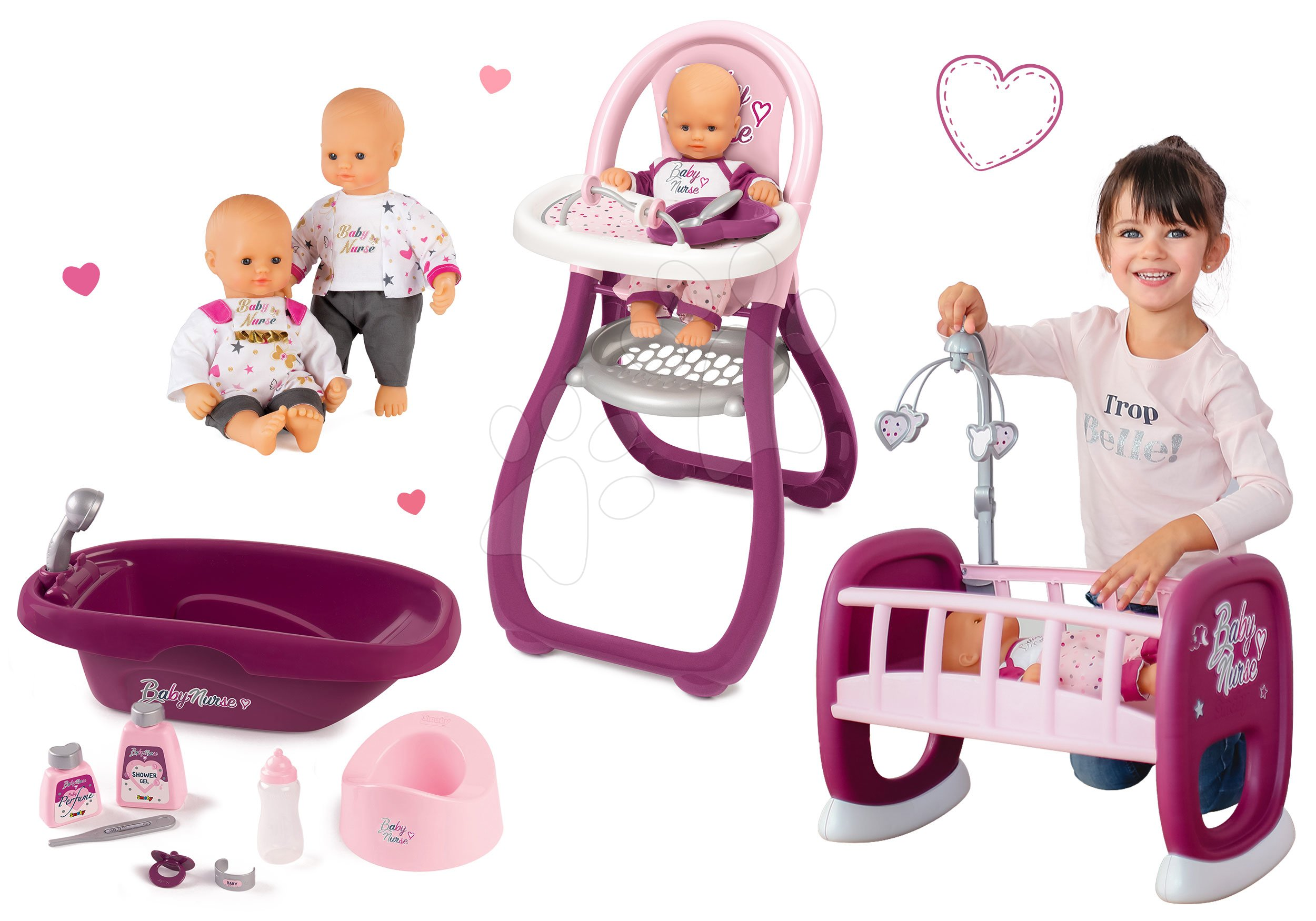 Set panenka Baby Nurse Zlatá edice Smoby 32 cm, jídelní židle, kolébka a vanička pro panenku od 24 měsíců