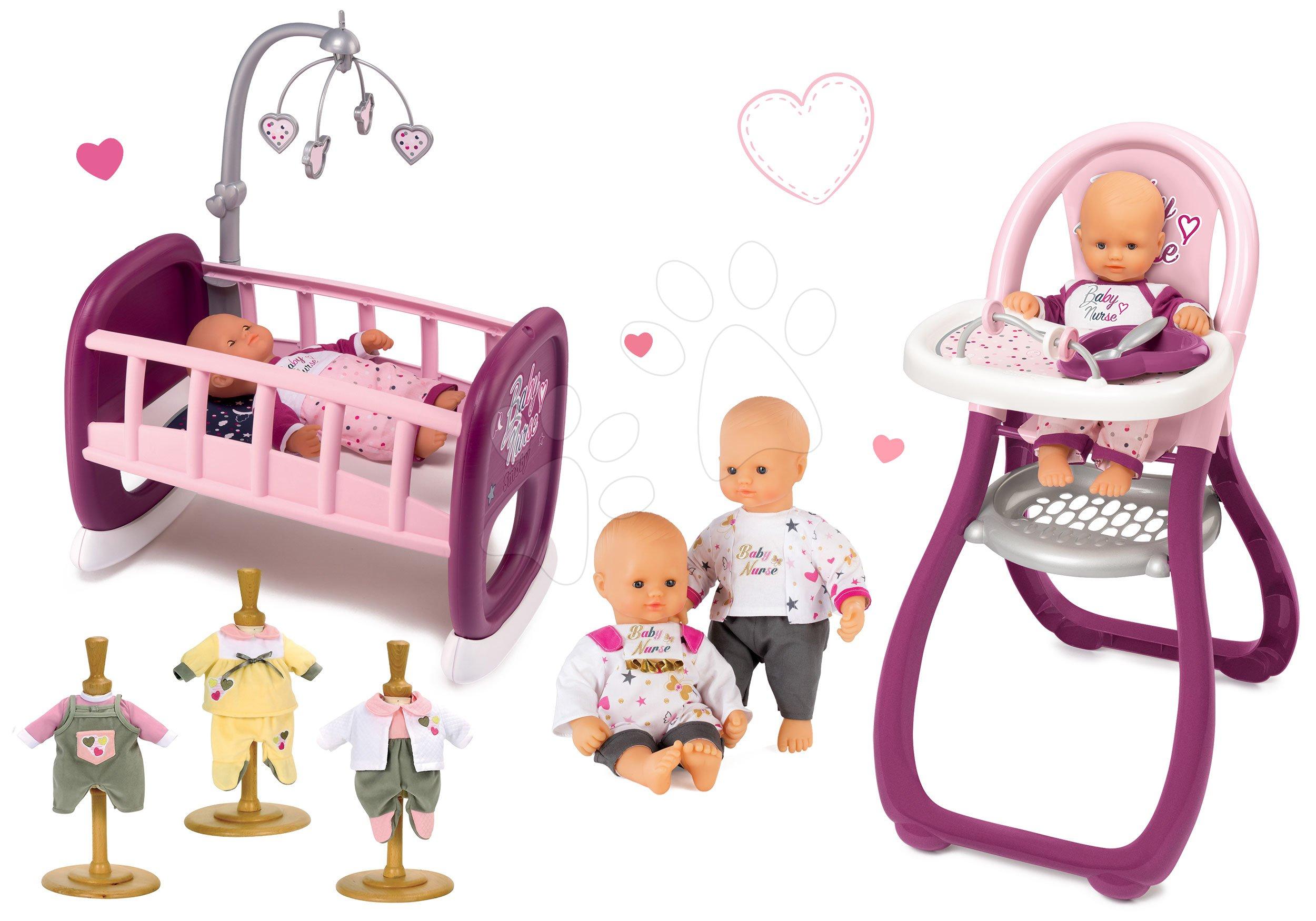 Set panenka Baby Nurse Zlatá edice Smoby 32 cm, jídelní židle, kolébka s kolotočem a 3 šaty pro panenku od 24 měsíců