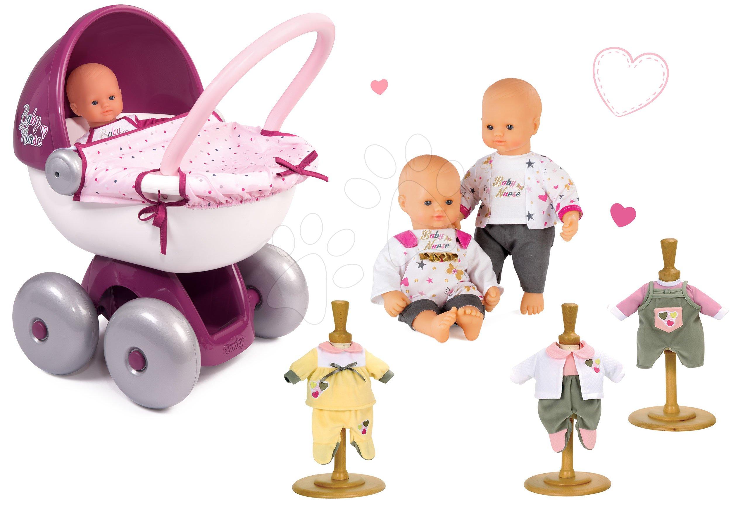 Set panenka Baby Nurse Zlatá edice Smoby 32 cm, hluboký kočárek pro panenku, 3 šatičky od 24 měsíců