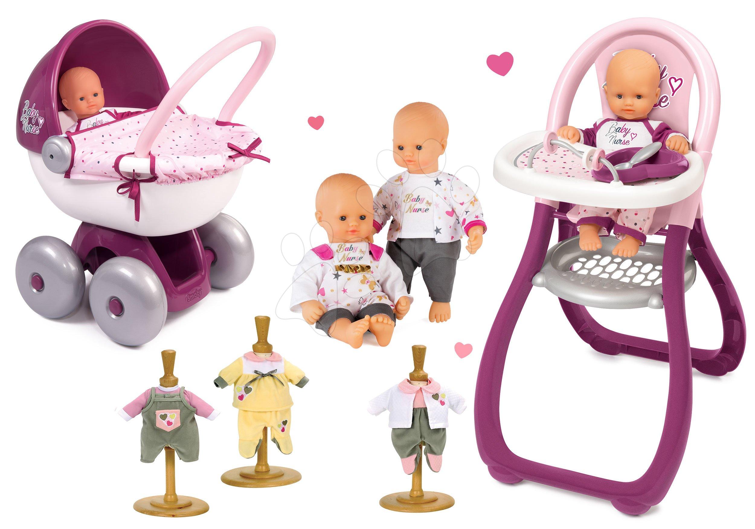 Smoby set bábika Baby Nurse Zlatá edícia, jedálenská stolička, kočík a šatky 220100-7ab