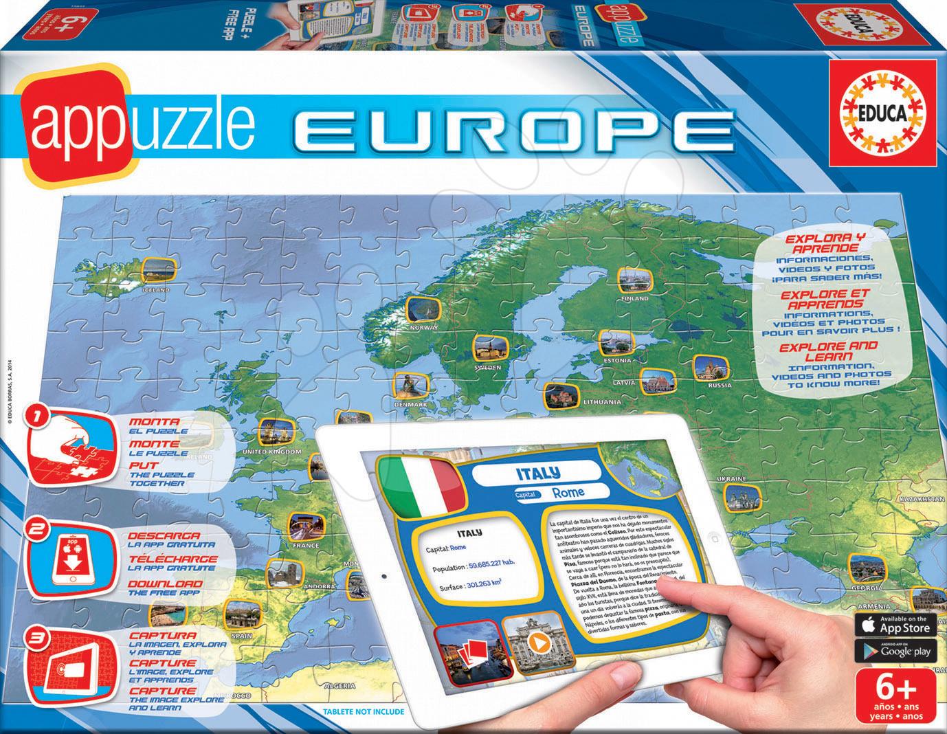 Cudzojazyčné spoločenské hry - Spoločenská hra Appuzzle Europe - Mapa Európy Educa v angličtine, francúzštine a španielčine od 6 rokov