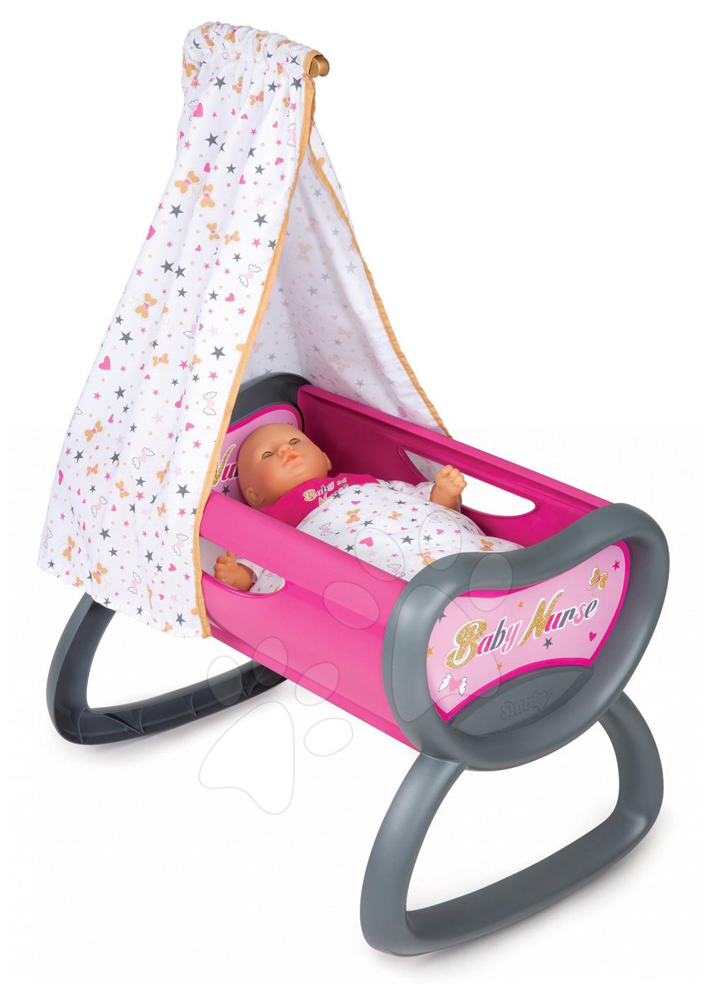 Leagăn pentru păpuşă 42 cm Baby Nurse Ediţie aurie Smoby cu baldachin de la 18 luni