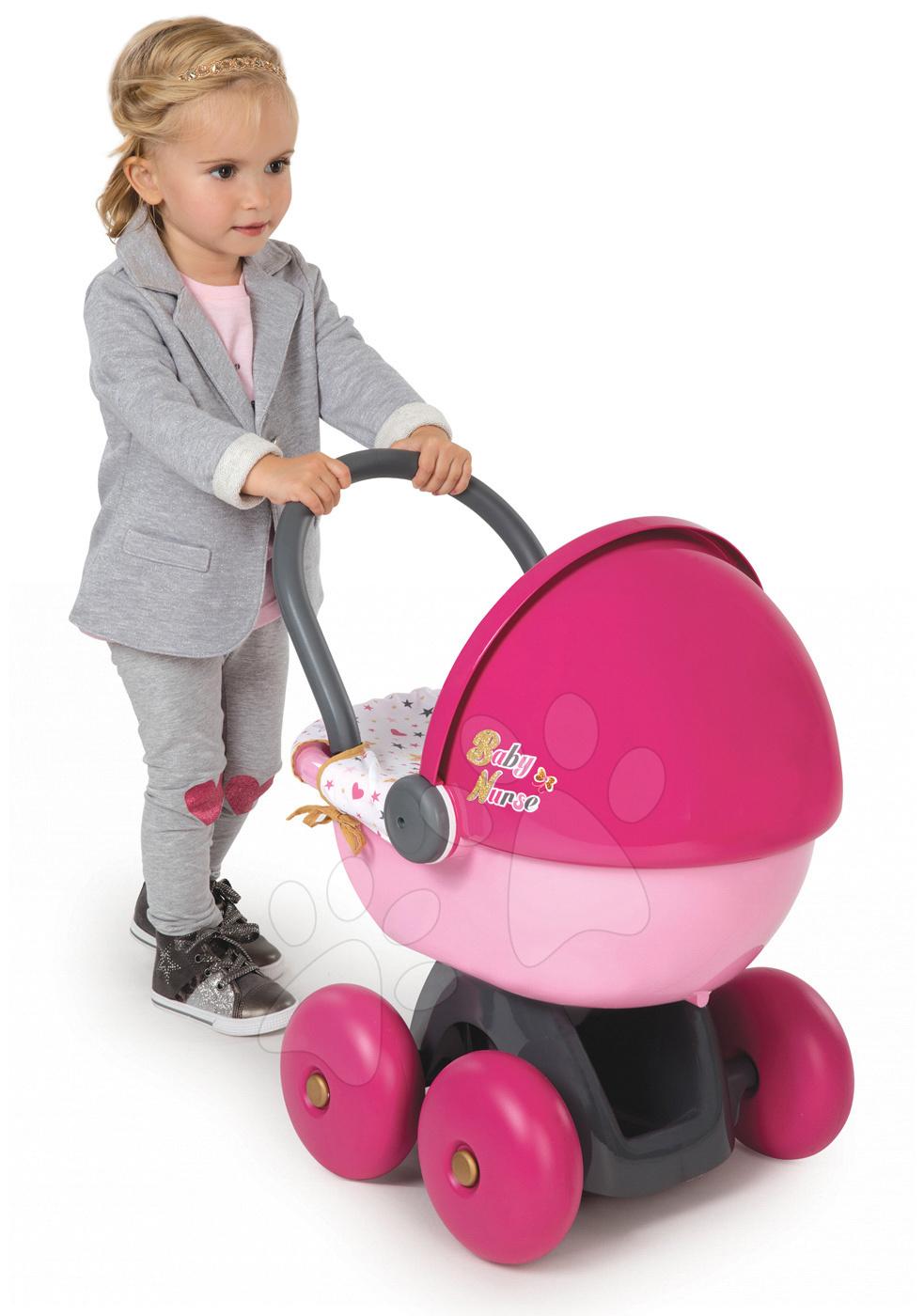 Babakocsi játékbabának Baby Nurse Arany sorozat Smoby mély (56 cm tolókar)  18 hó- 4ee60248f2