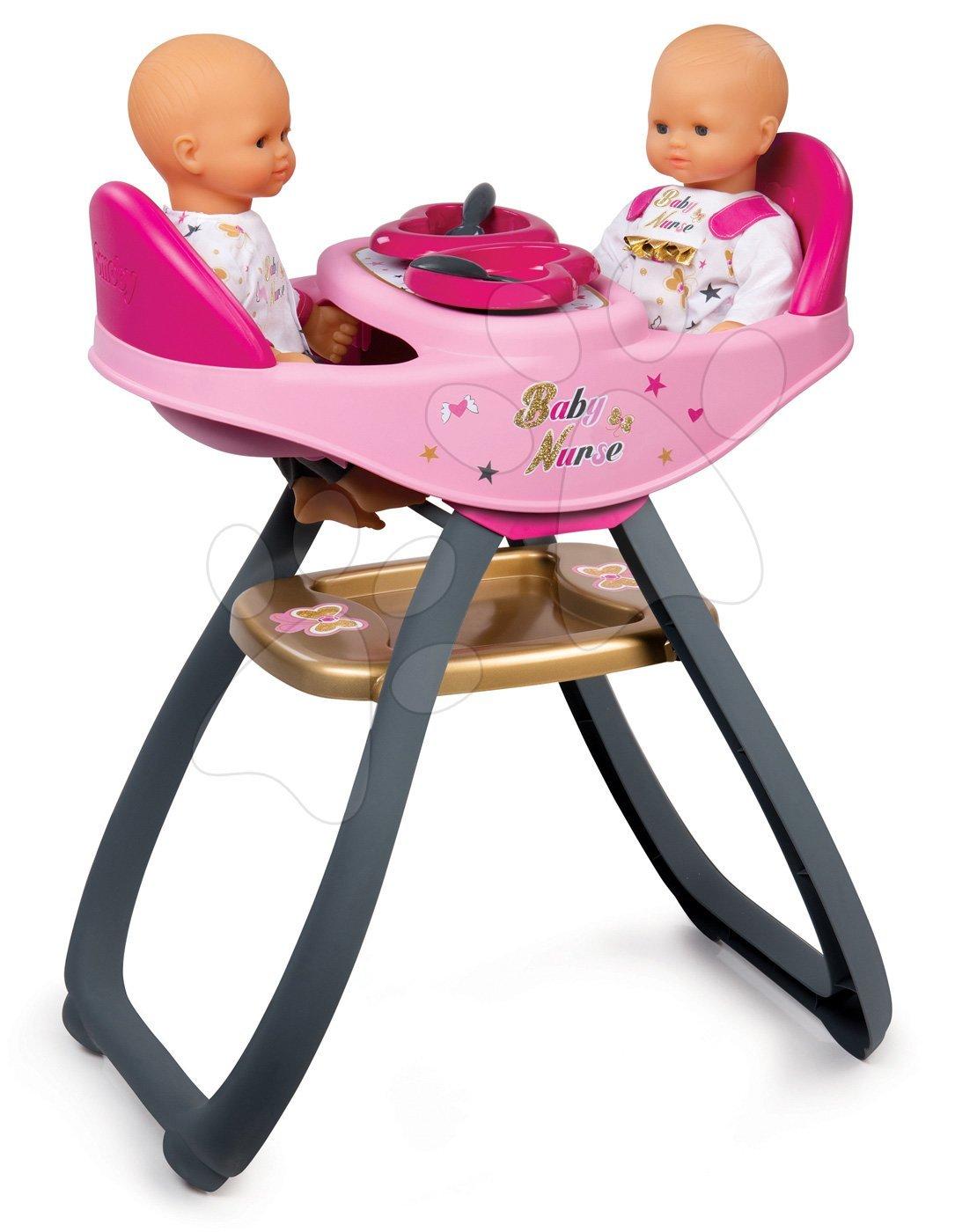 Smoby stolička na kŕmenie bábik dvojičiek Baby Nurse 220315 ružová