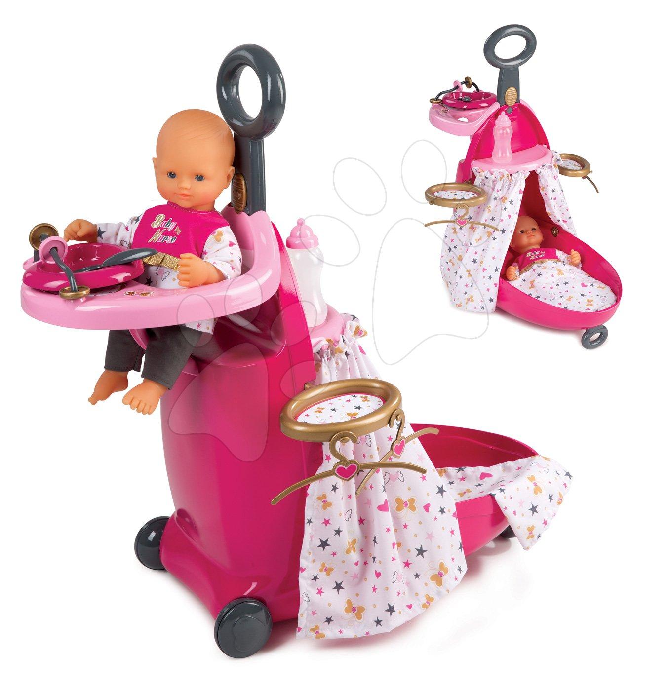 Přebalovací vozík pro panenku Baby Nurse Zlatá edice Smoby s postýlkou a kuchyňkou od 18 měsíců