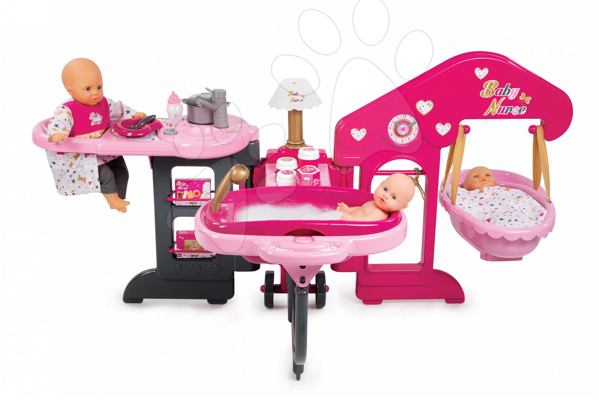 Domeček pro panenku Baby Nurse Zlatá edice Smoby trojkřídlý s 13 doplňky