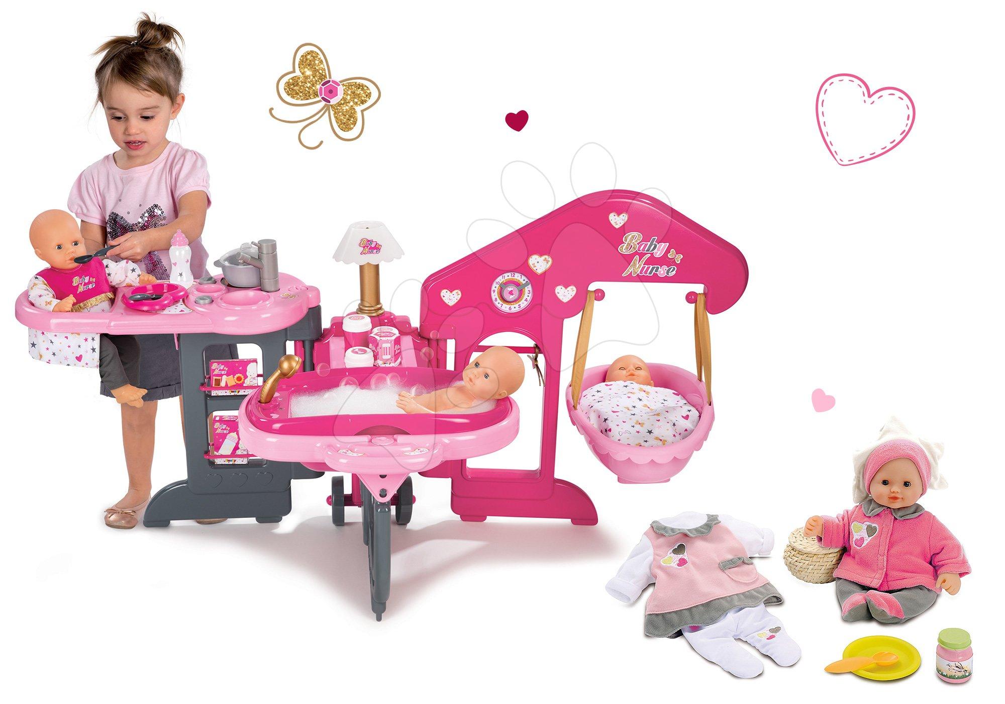 Domčeky pre bábiky sety - Set opatrovateľské centrum pre bábiku Baby Nurse Smoby a bábika so šatôčkami 32 cm
