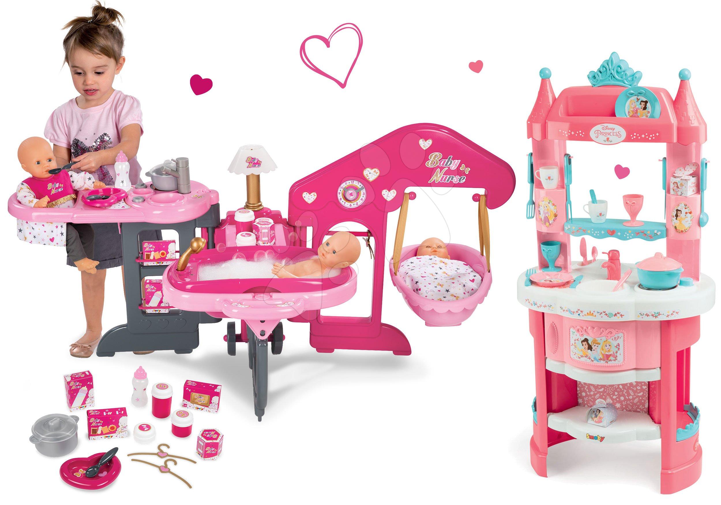 Set pečovatelské centrum pro panenku Baby Nurse Smoby a kuchyňka Princezny Ma Premier s kávovarem od 3 let
