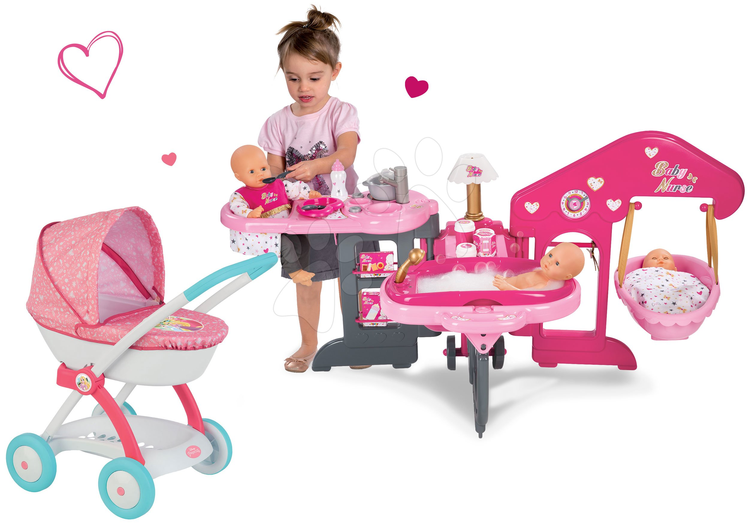 Set pečovatelské centrum pro panenku Baby Nurse Smoby a hluboký kočárek Hello Kitty (55 cm ručka)