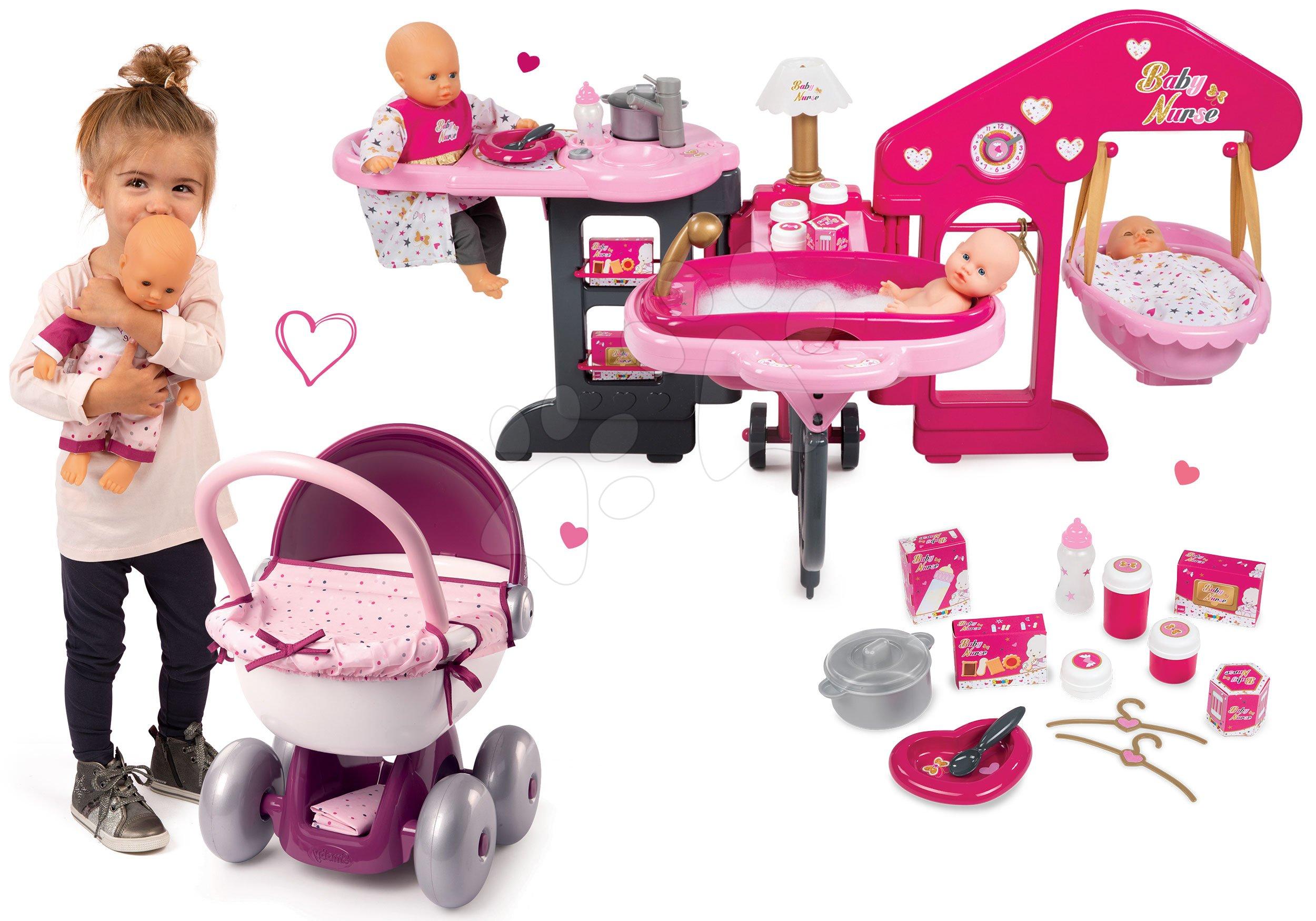 Domčeky pre bábiky sety - Set opatrovateľské centrum pre bábiku Baby Nurse Smoby a hlboký oválny kočík pre bábiku (56 cm rúčka) od 3 rokov