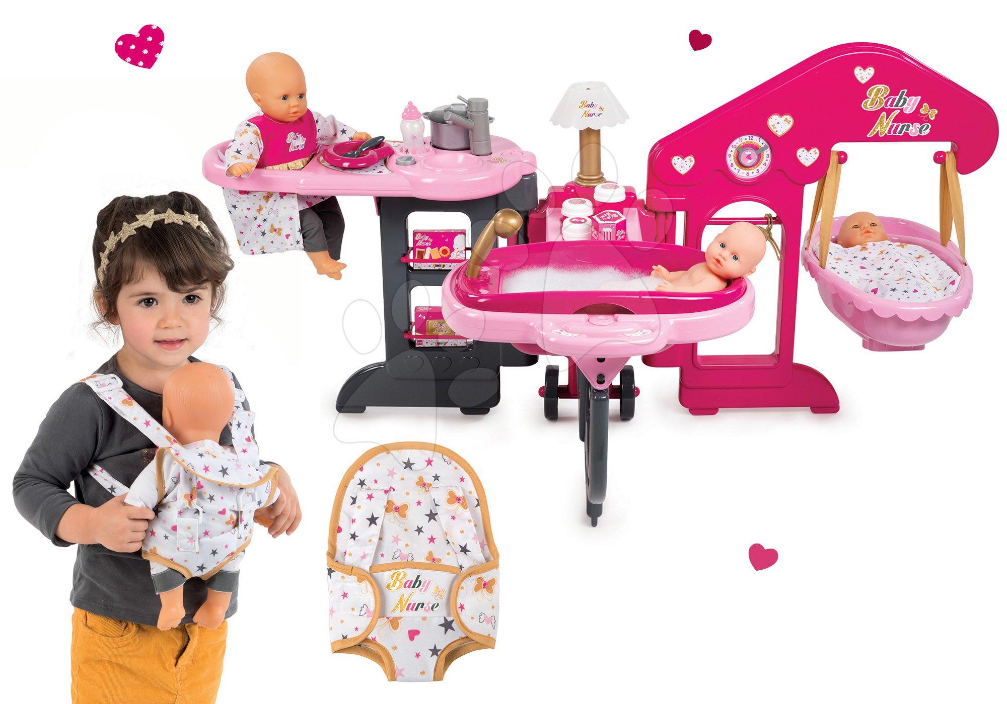 Set opatrovateľské centrum pre bábiku Baby Nurse Smoby a nosidlo pre bábiku 42 cm