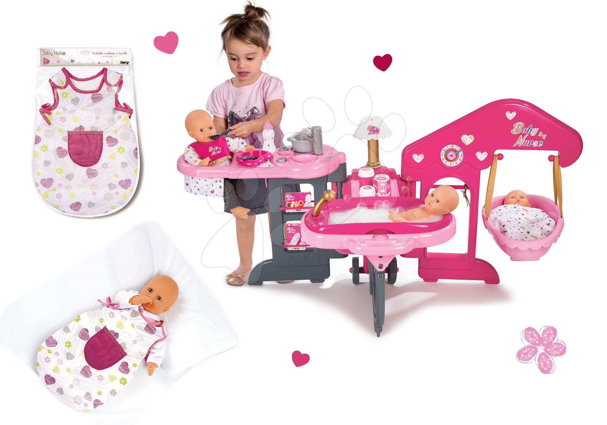 Domčeky pre bábiky sety - Set opatrovateľské centrum pre bábiku Baby Nurse Smoby a nočný úbor pre bábiku 42 cm