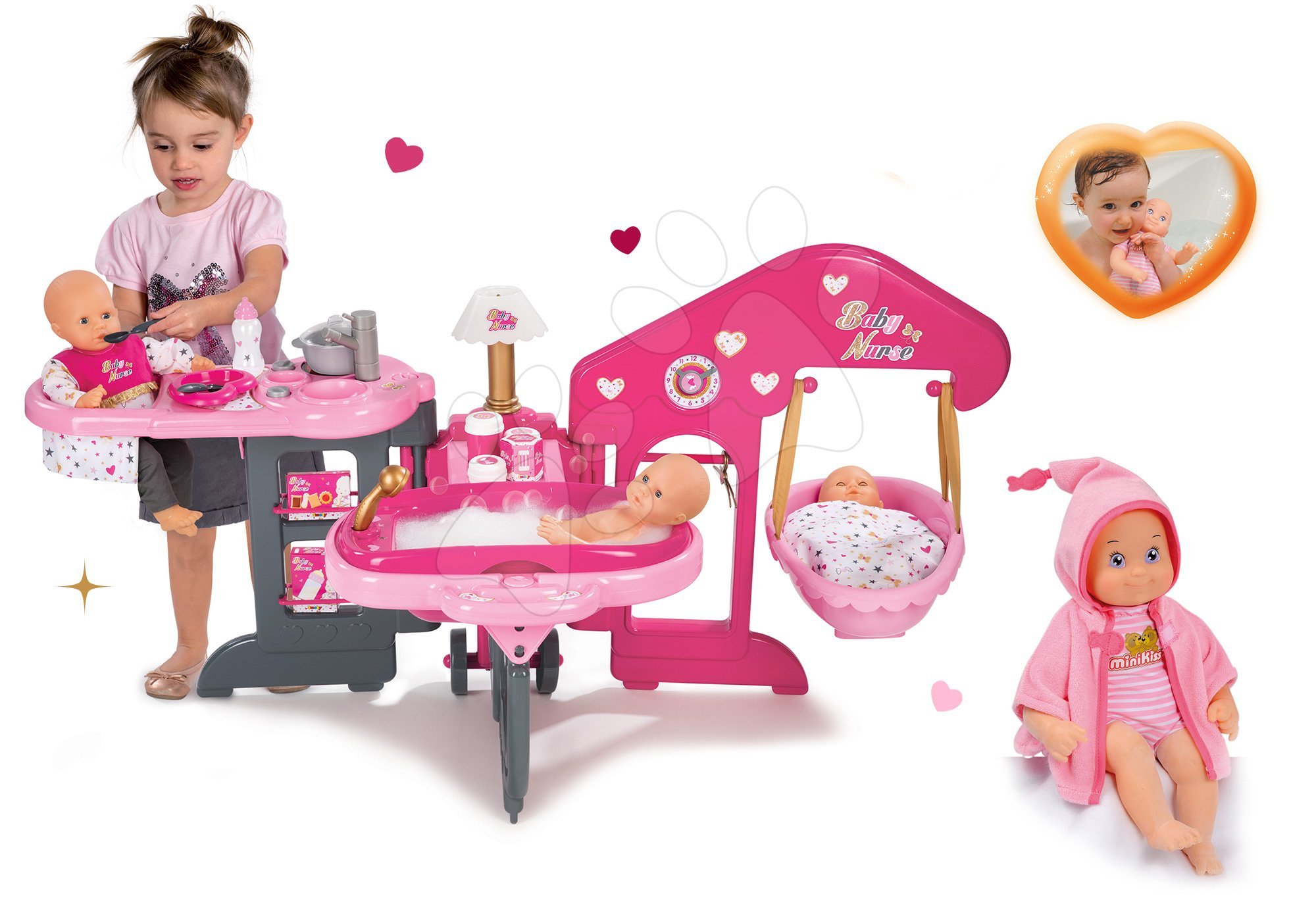 Set pečovatelské centrum pro panenku Baby Nurse Smoby a panenka se zvuky MiniKiss na koupání 27 cm