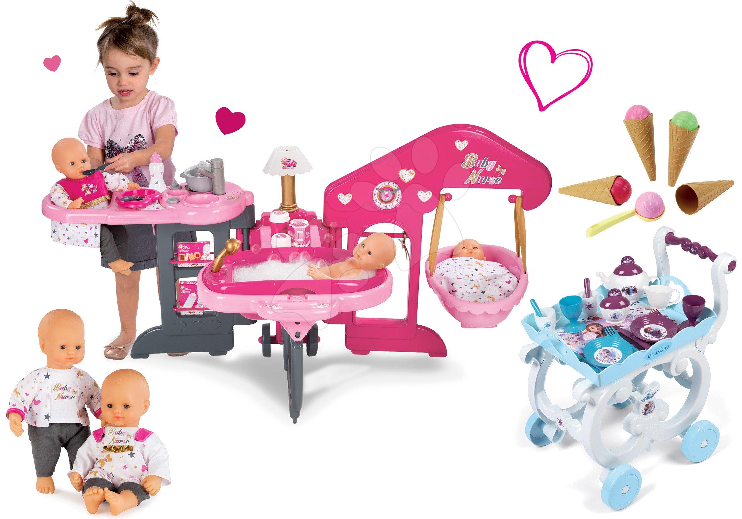 Set domeček pro panenku Baby Nurse Smoby tříkřídlový, panenka a servírovací vozík Frozen XL Tea Trolley se zmrzlinou