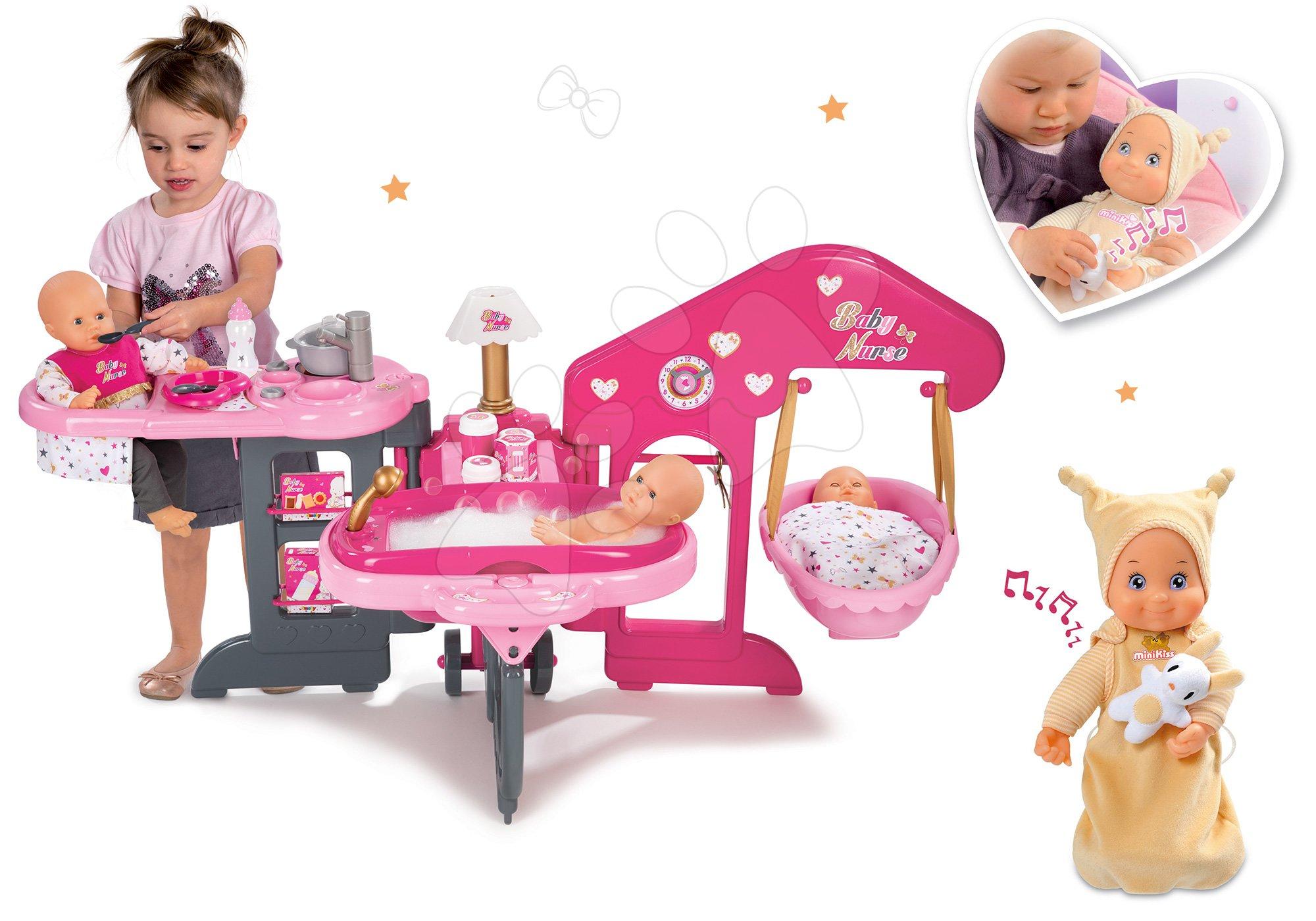 Set pečovatelské centrum pro panenku Baby Nurse Smoby a panenka se zvukem MiniKiss do postýlky 27 cm