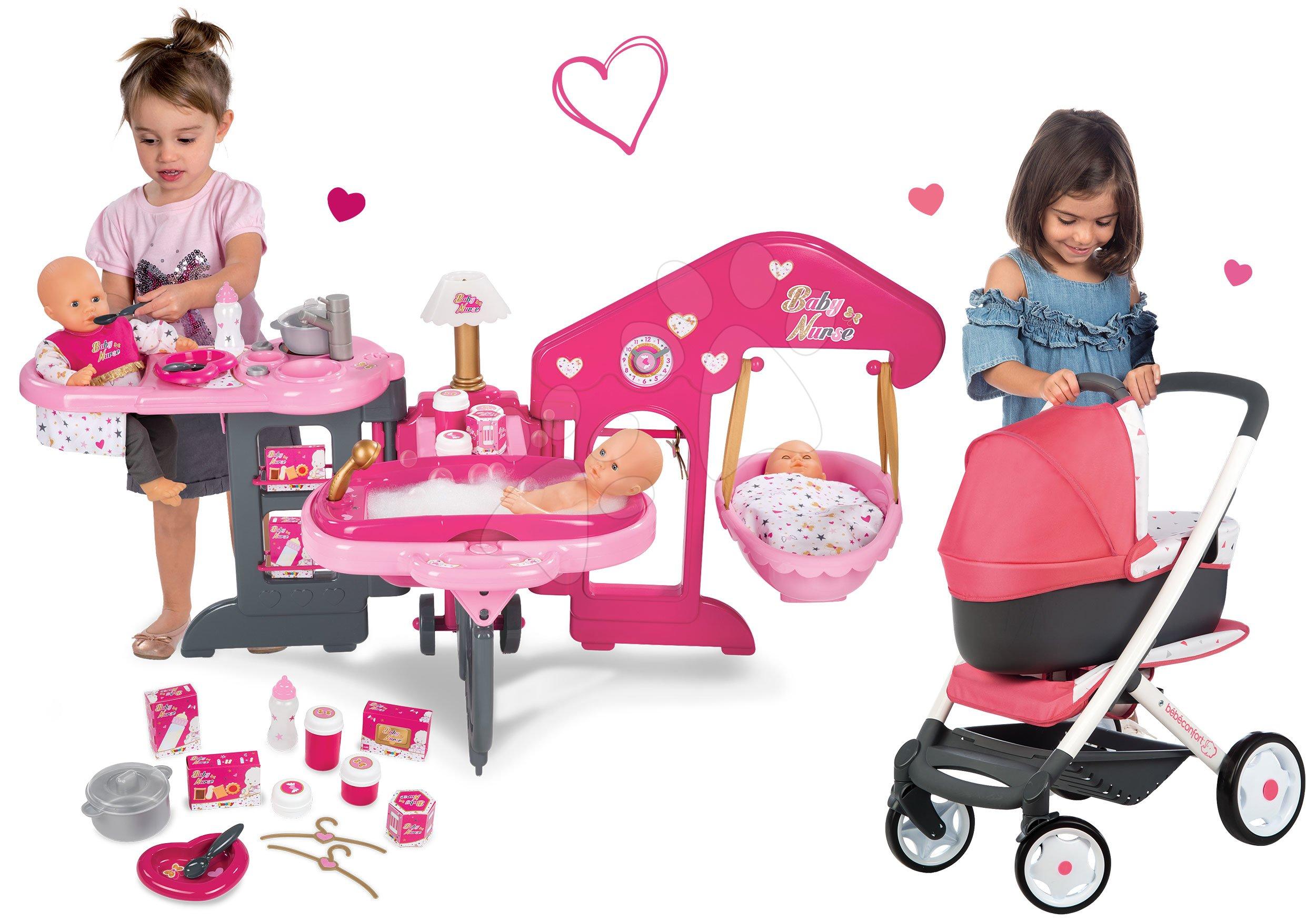 Domčeky pre bábiky sety - Set opatrovateľské centrum pre bábiku Baby Nurse Smoby a kočík pre bábiku Maxi Cosi & Quinny 3v1 (70 cm rúčka)