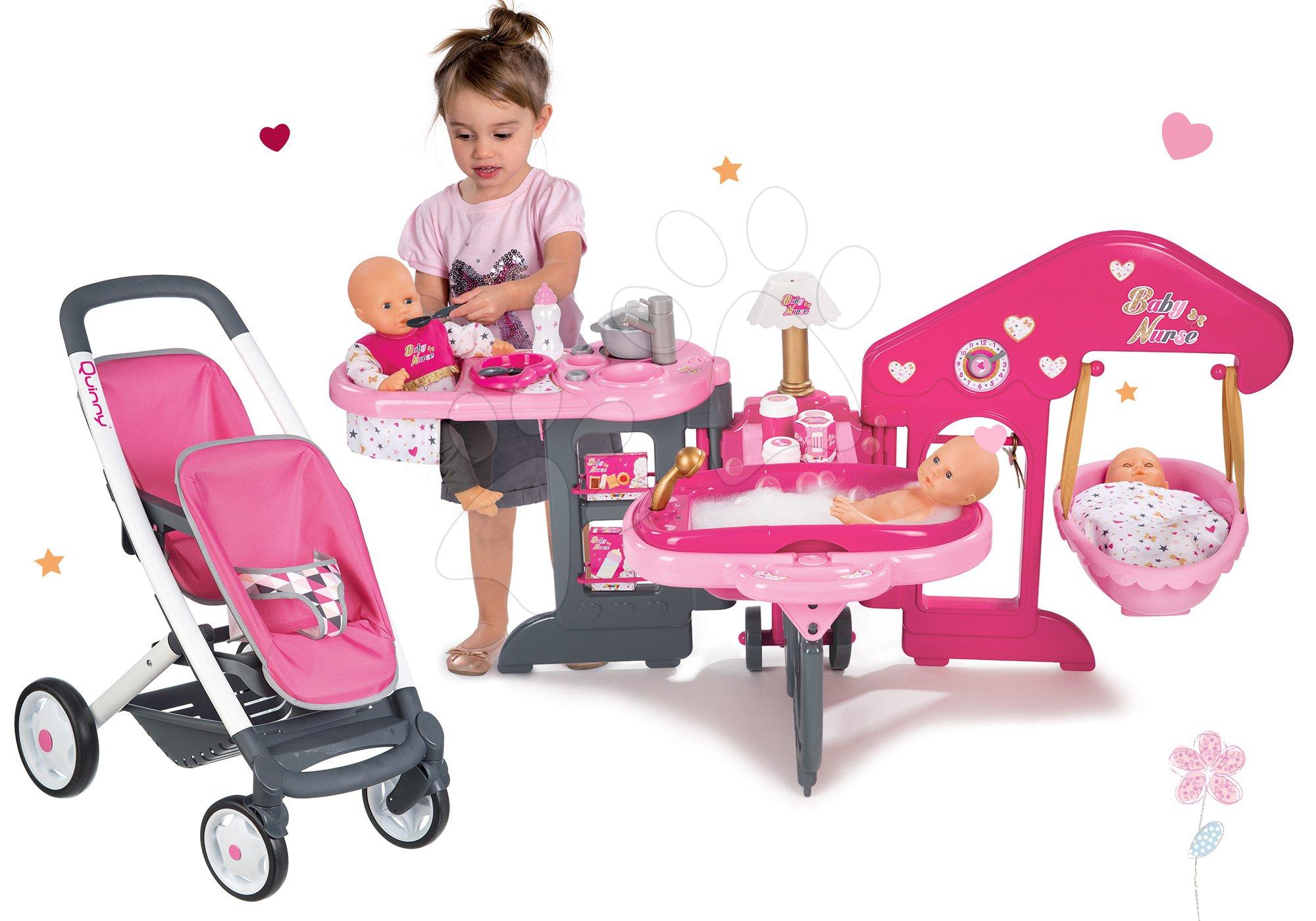 Set pečovatelské centrum pro panenku Baby Nurse Smoby a kočárek pro dvě panenky Maxi Cosi&Quinny Twin