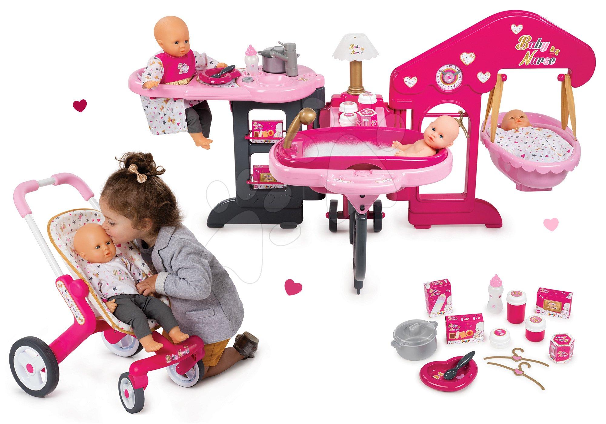 Set pečovatelské centrum pro panenku Baby Nurse Smoby a kočárek Baby Nurse Poussette Pop (53,5 cm ručka)