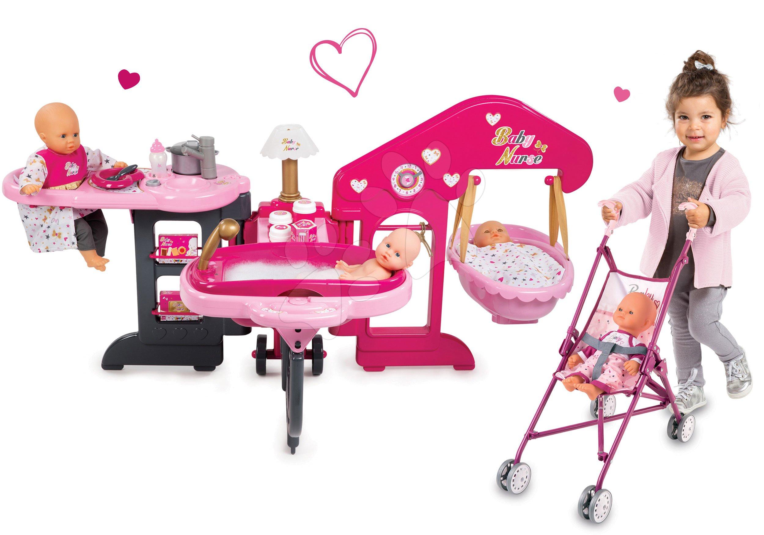 Domčeky pre bábiky sety - Set opatrovateľské centrum pre bábiku Baby Nurse Smoby a skladací kočík Baby Nurse Zlatá edícia (47,5 cm rúčka)