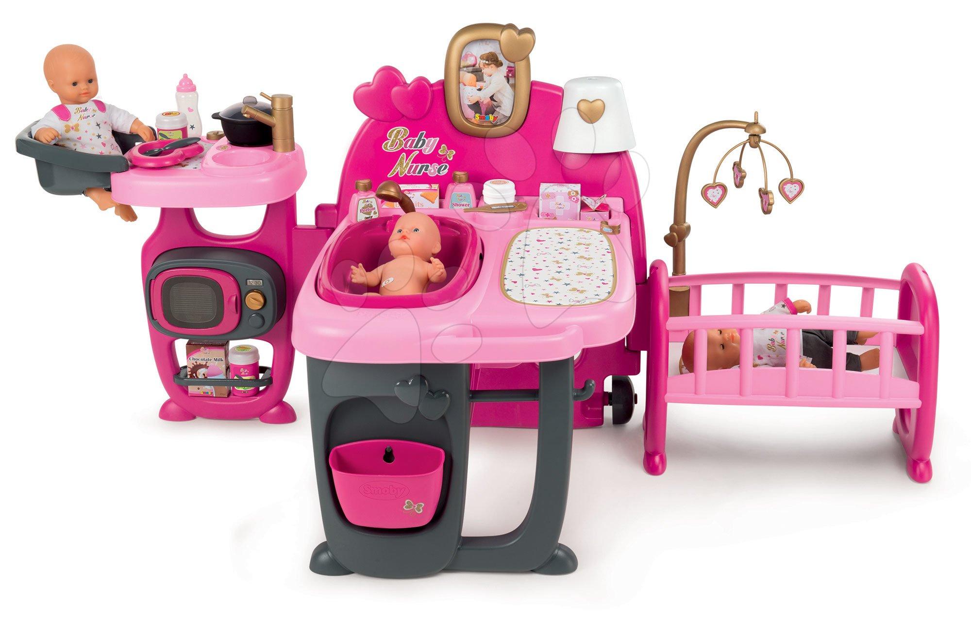 Domeček pro panenku Baby Nurse Doll's Play Center Smoby trojkřídlý s 23 doplňky pro panenku