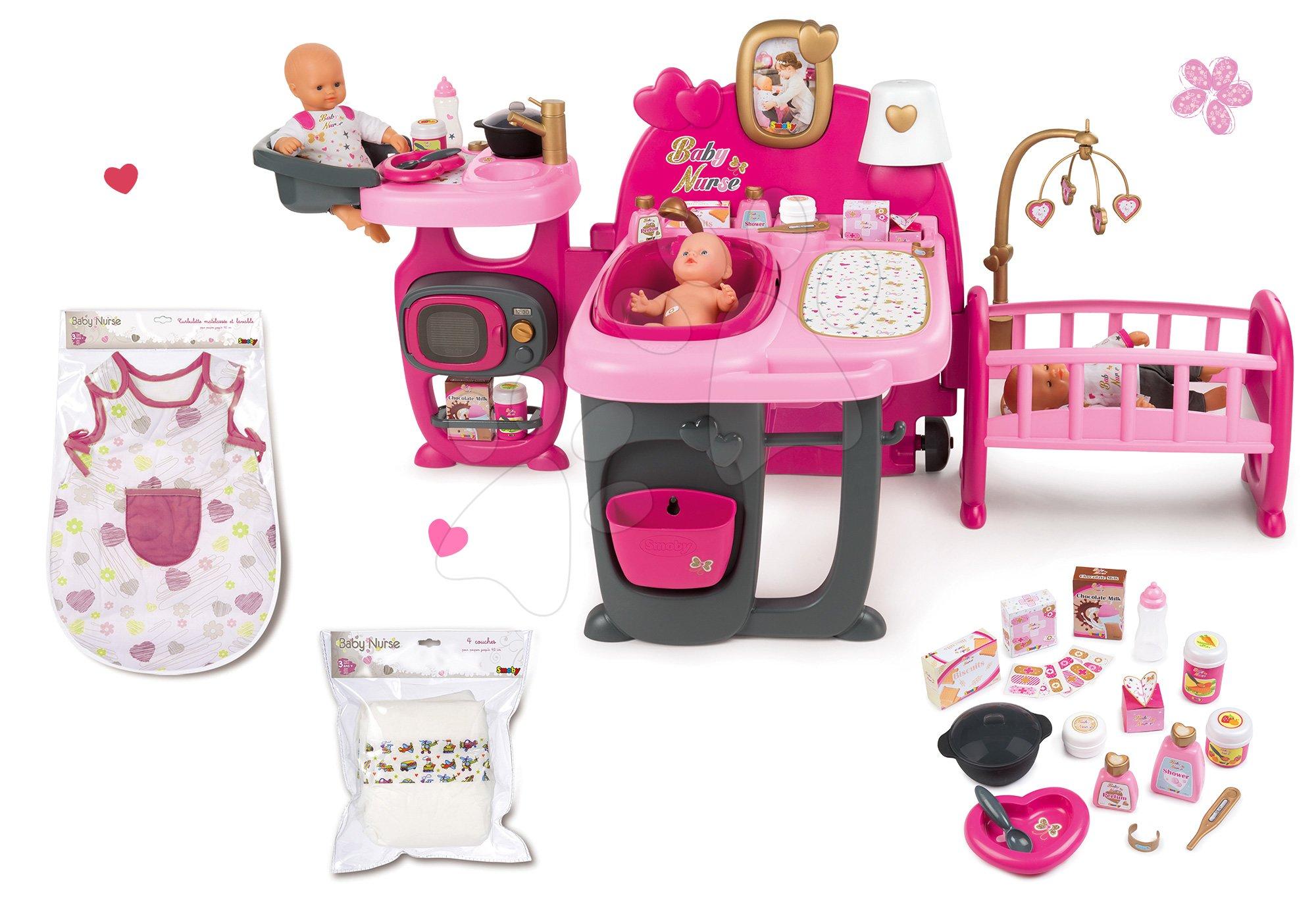 Domček pre bábiku Baby Nurse Doll's Play Center Smoby a nočný úbor s plienkami