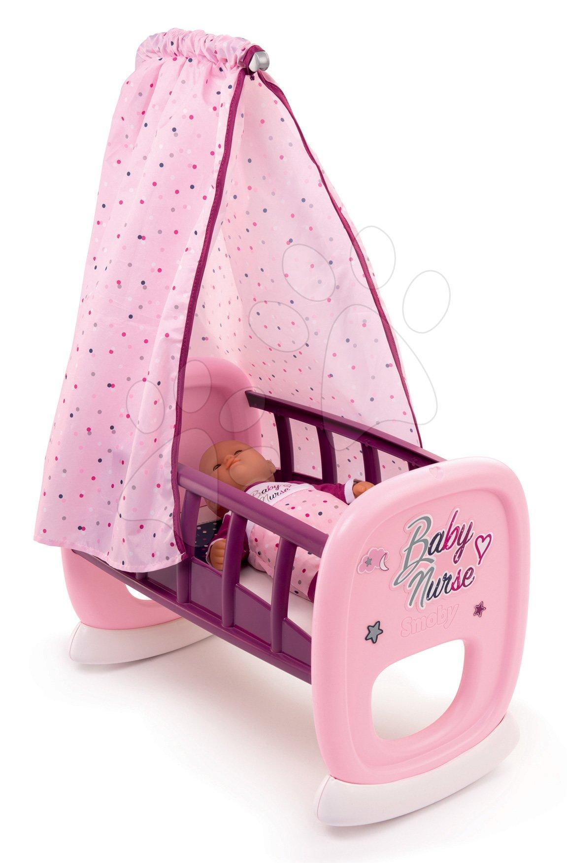 Leagăn cu baldachin Violette Baby Nurse Smoby pentru păpuși de la 18 luni