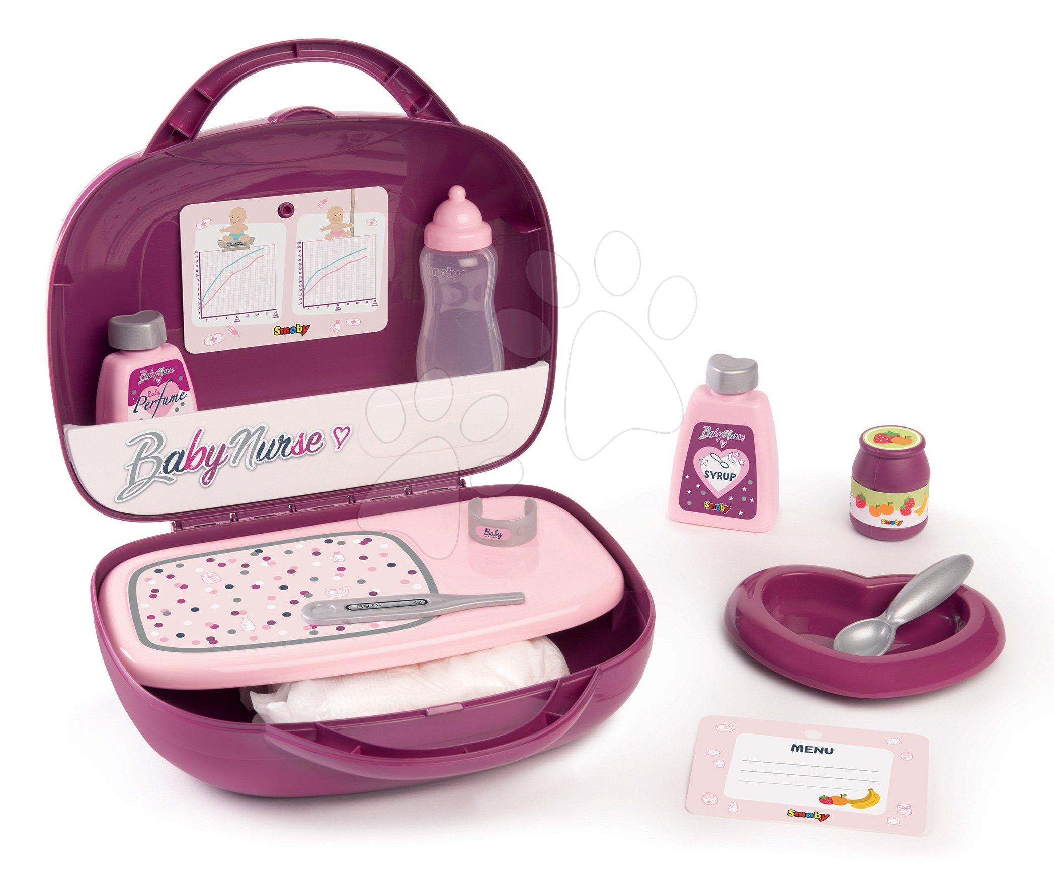 Kufrík s prebaľovacími potrebami Violette Baby Nurse Smoby pre bábiku s 12 doplnkami