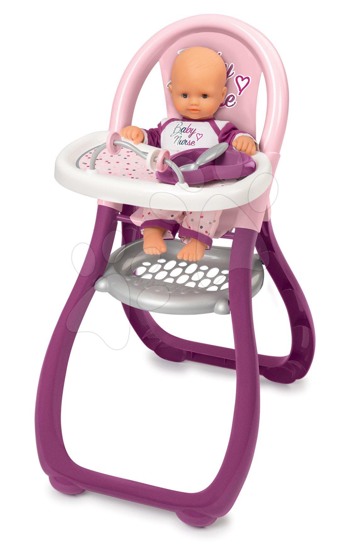 Jídelní židle Violette Baby Nurse Smoby pro panenku s 2 doplňky od 18 měsíců